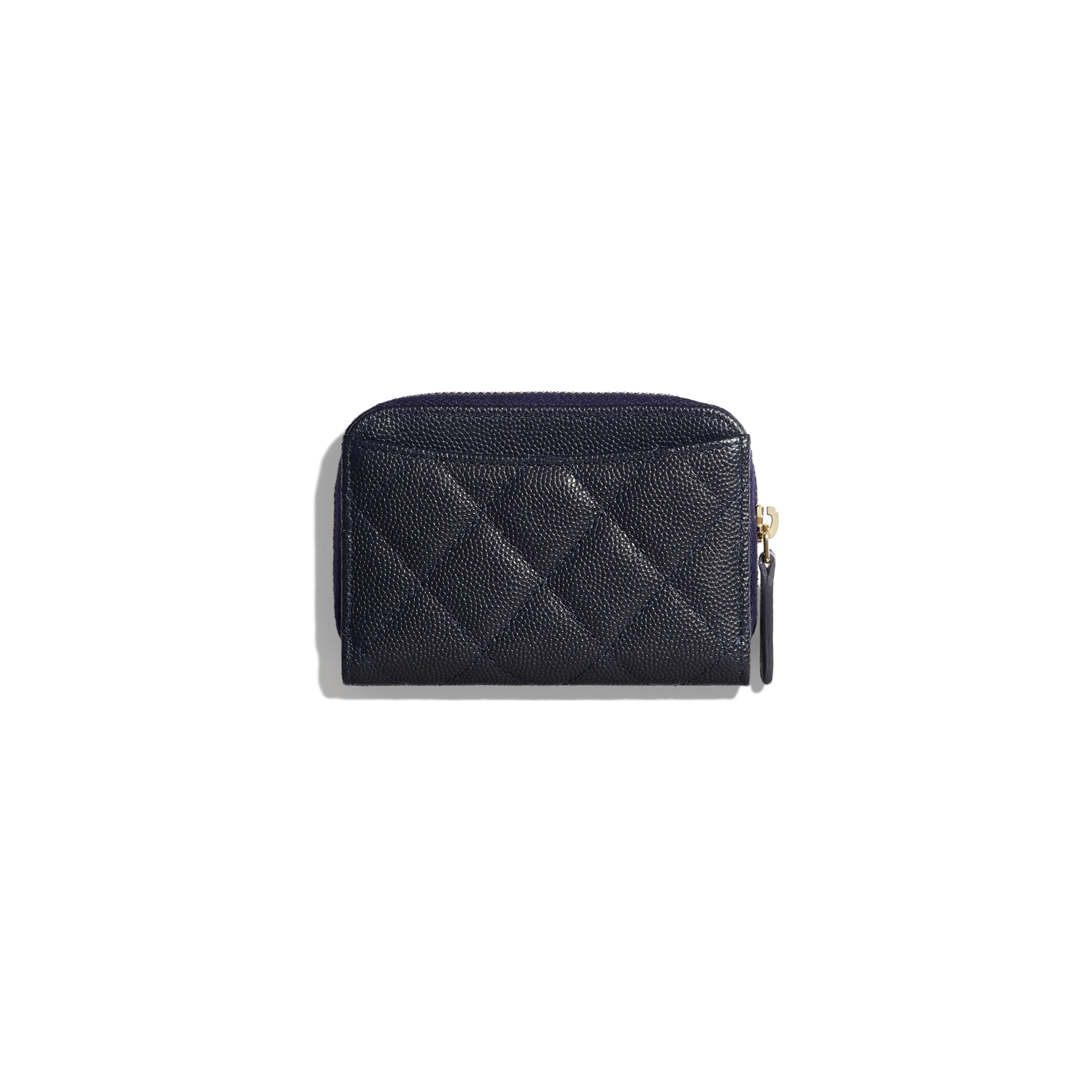 Classic Zipped Coin Purse - Navy Blue - Grained Calfskin & Gold-Tone Metal - Alternative view - see full sized version
