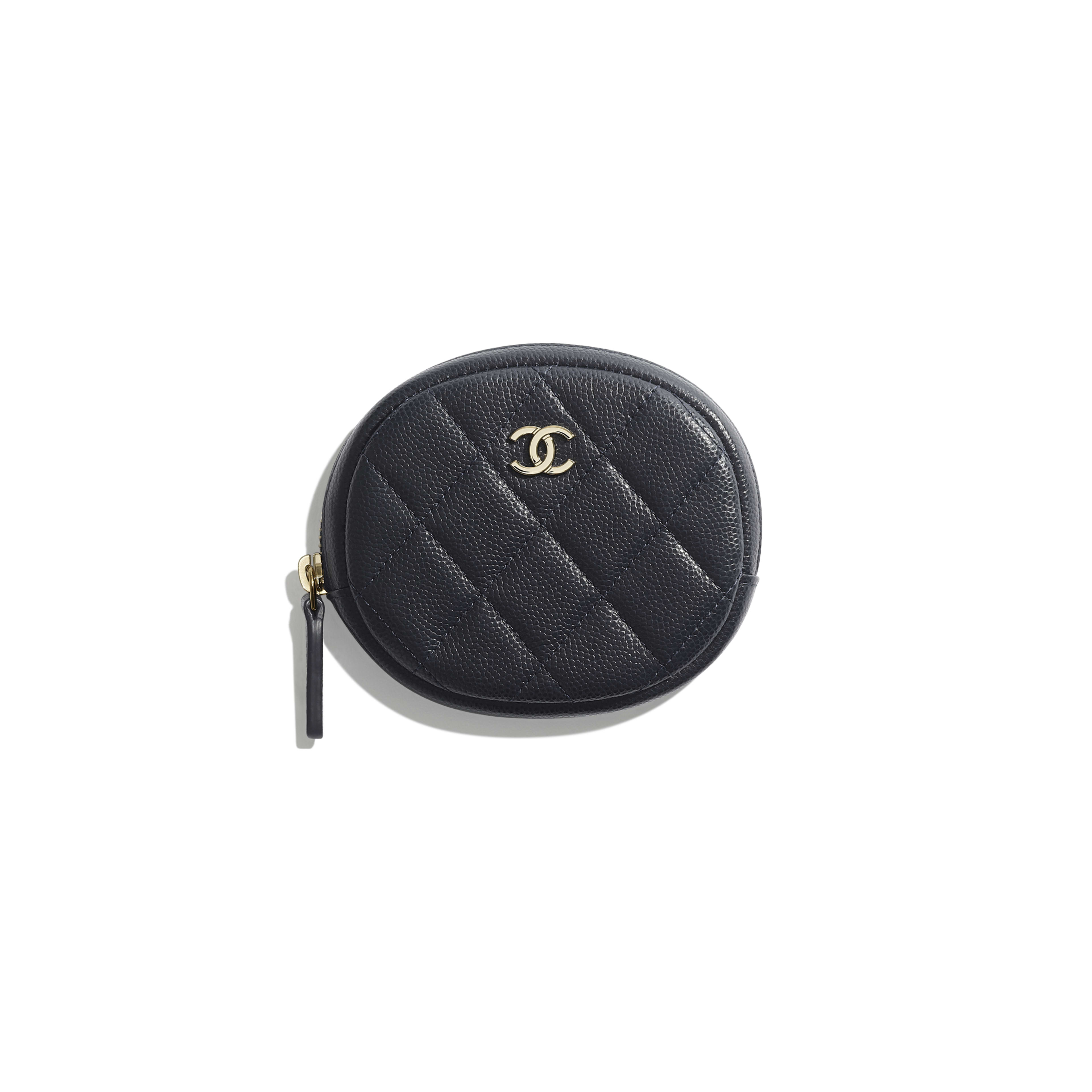 Classic Zipped Coin Purse - Navy Blue - Grained Calfskin & Gold-Tone Metal - Default view - see full sized version