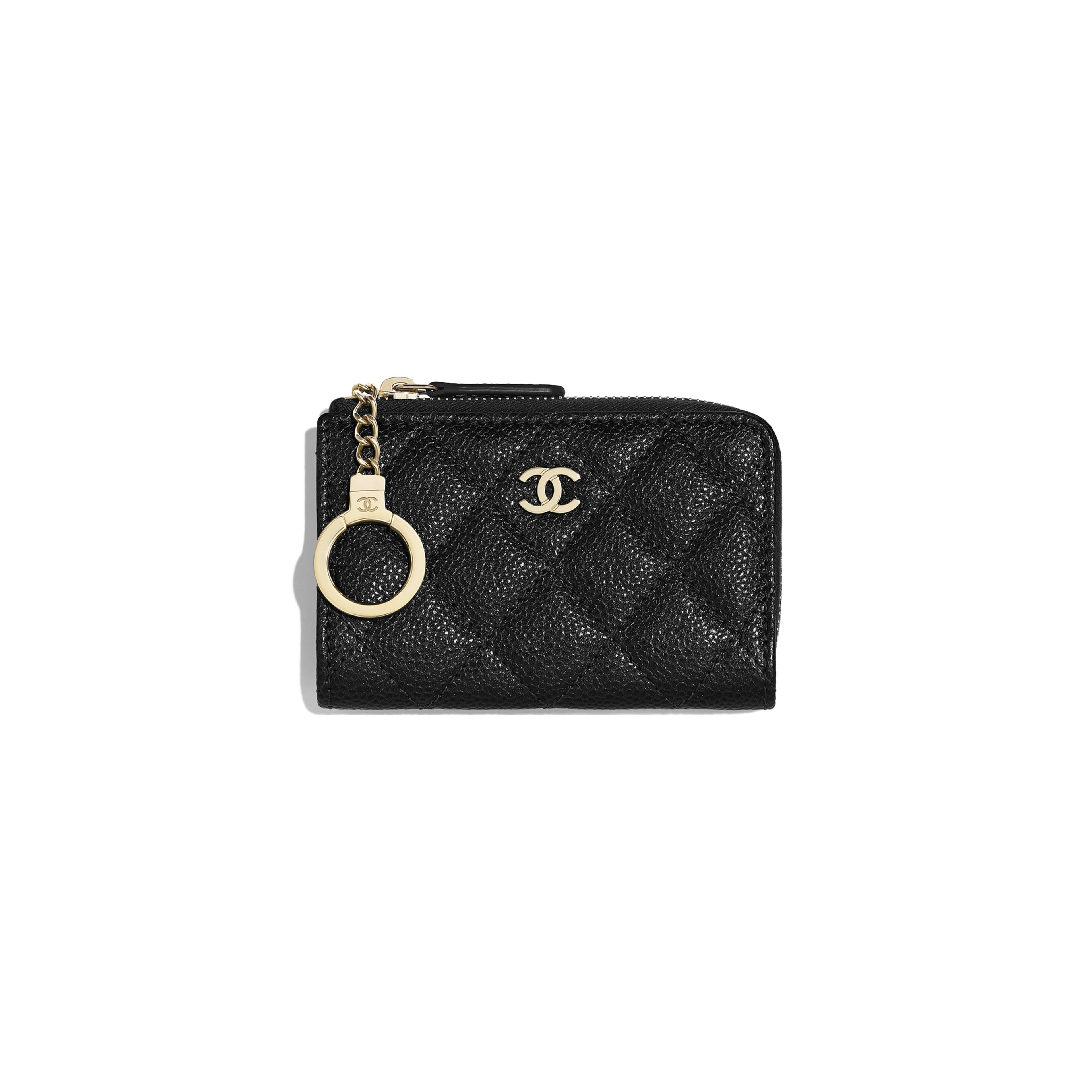 Classic Zipped Key Holder - Black - Grained Calfskin & Gold-Tone Metal - Default view - see full sized version