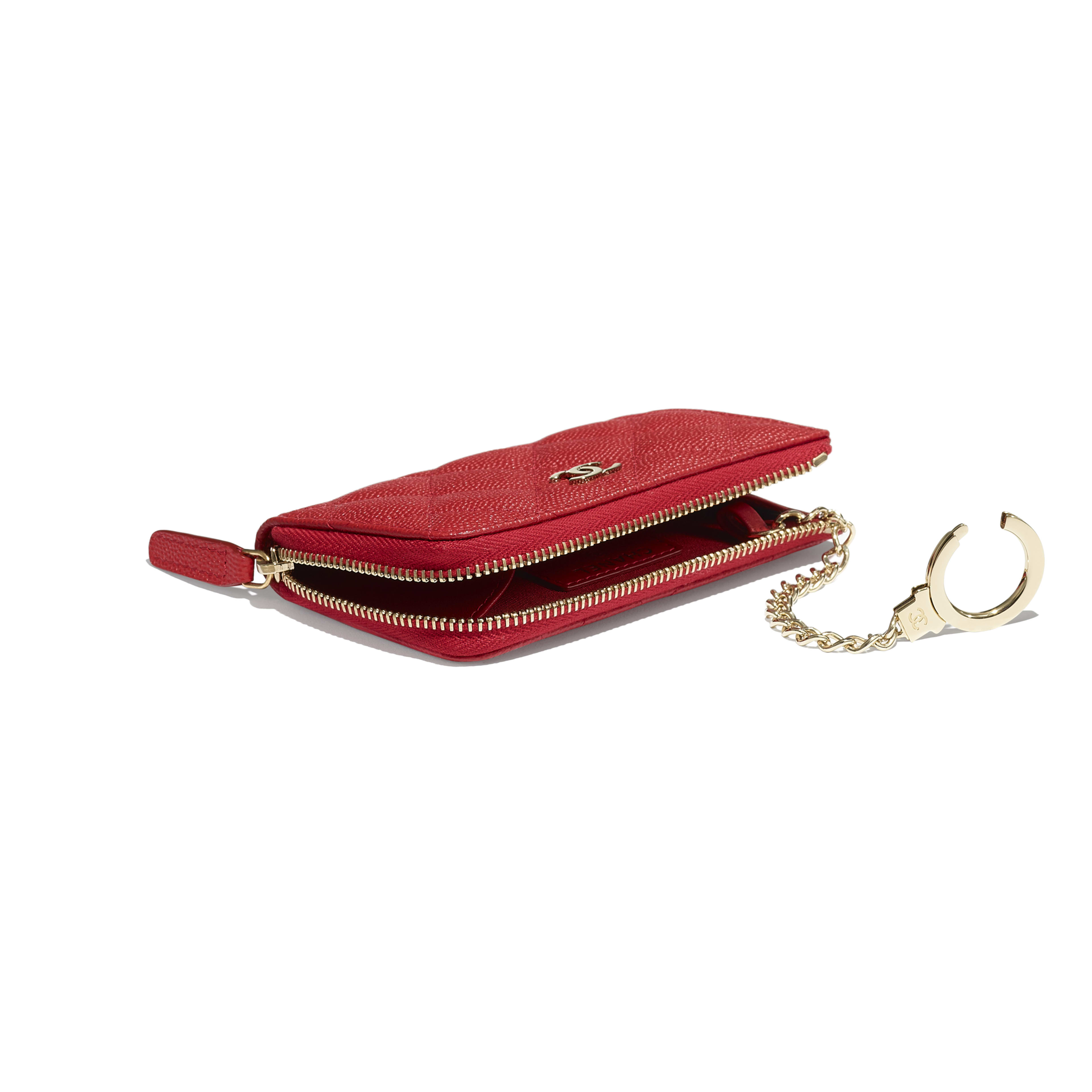 Classic Zipped Key Holder - Red - Grained Calfskin & Gold-Tone Metal - Extra view - see full sized version