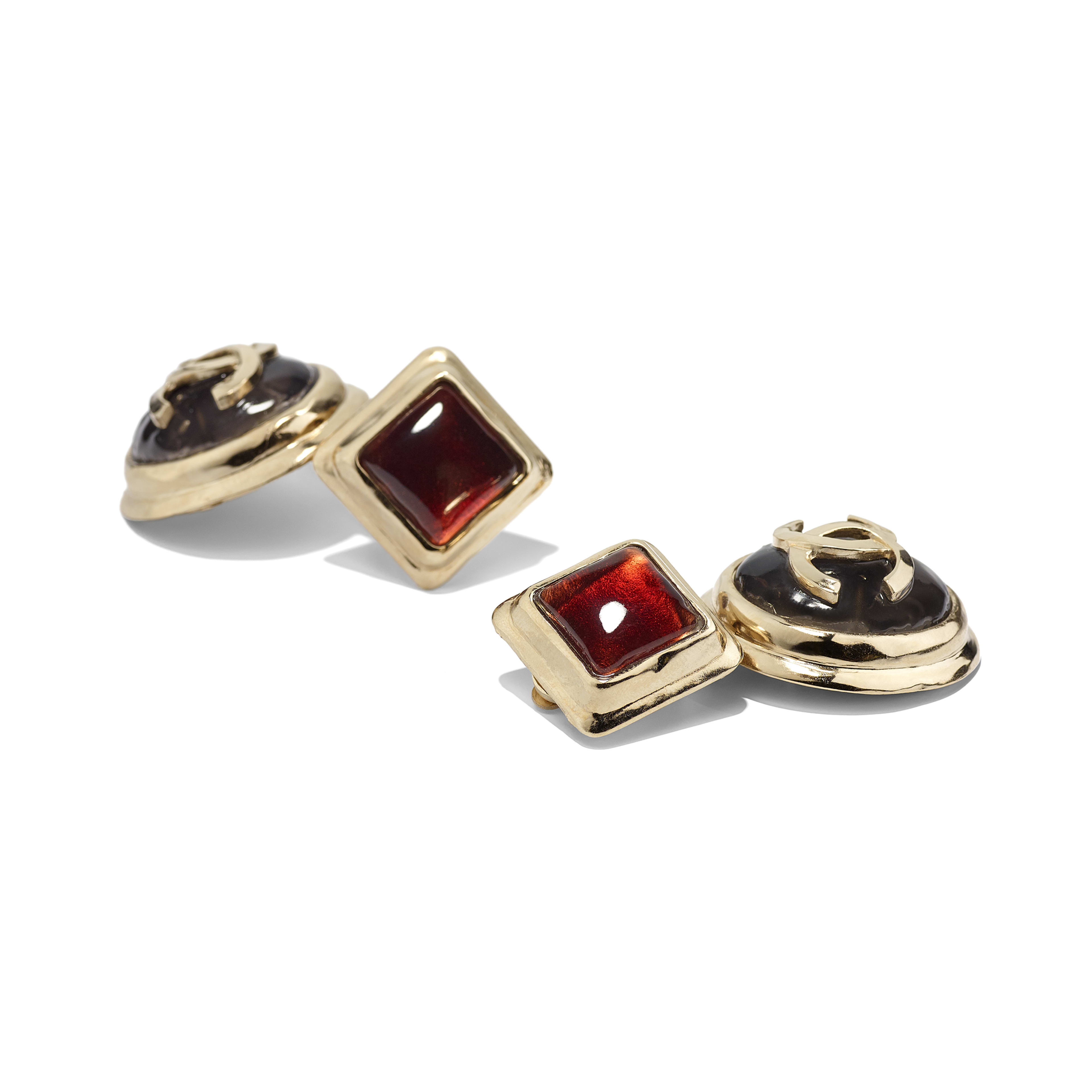 Clip-On Earrings - Gold, Black & Burgundy - Metal & Resin - Alternative view - see full sized version