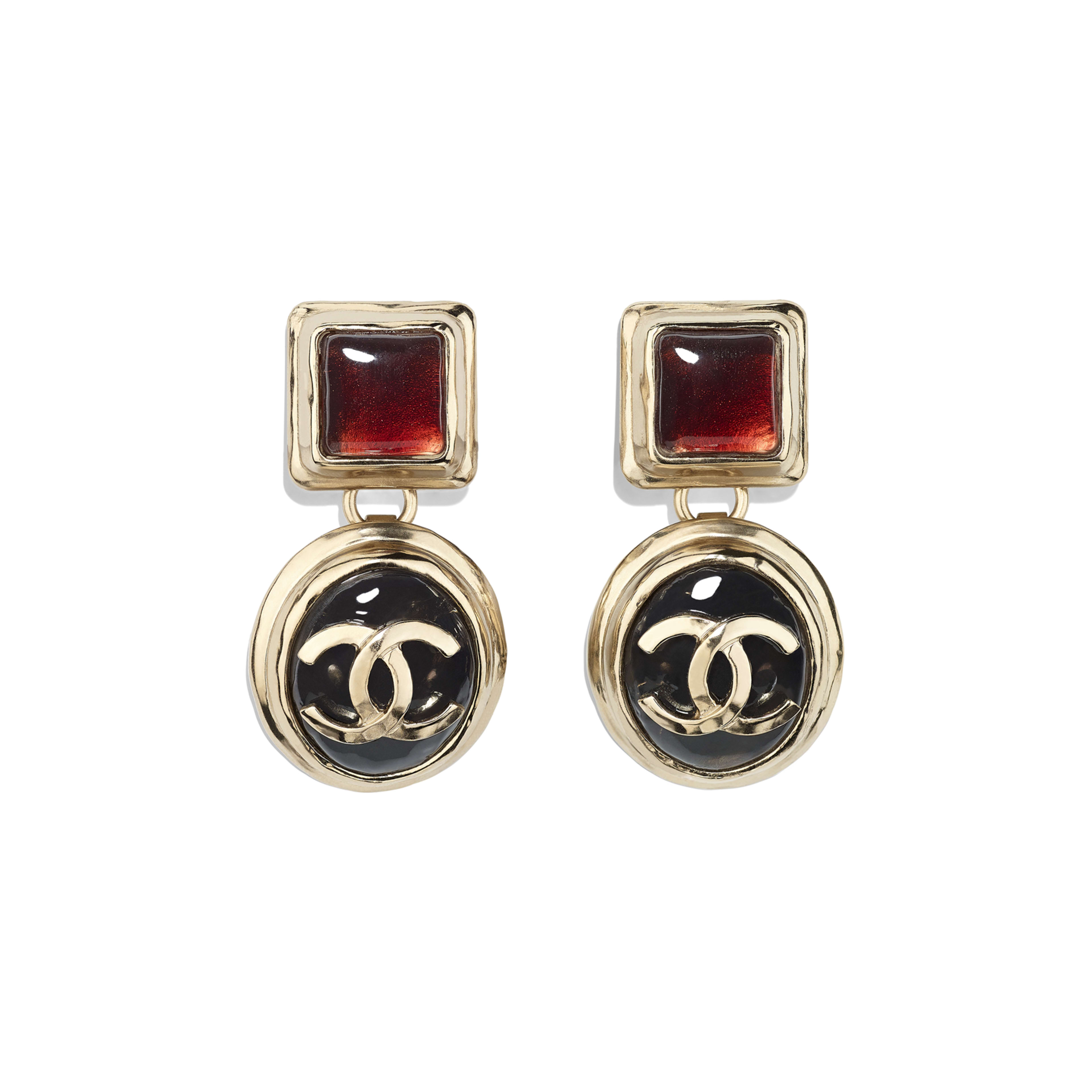 Clip-On Earrings - Gold, Black & Burgundy - Metal & Resin - Default view - see full sized version