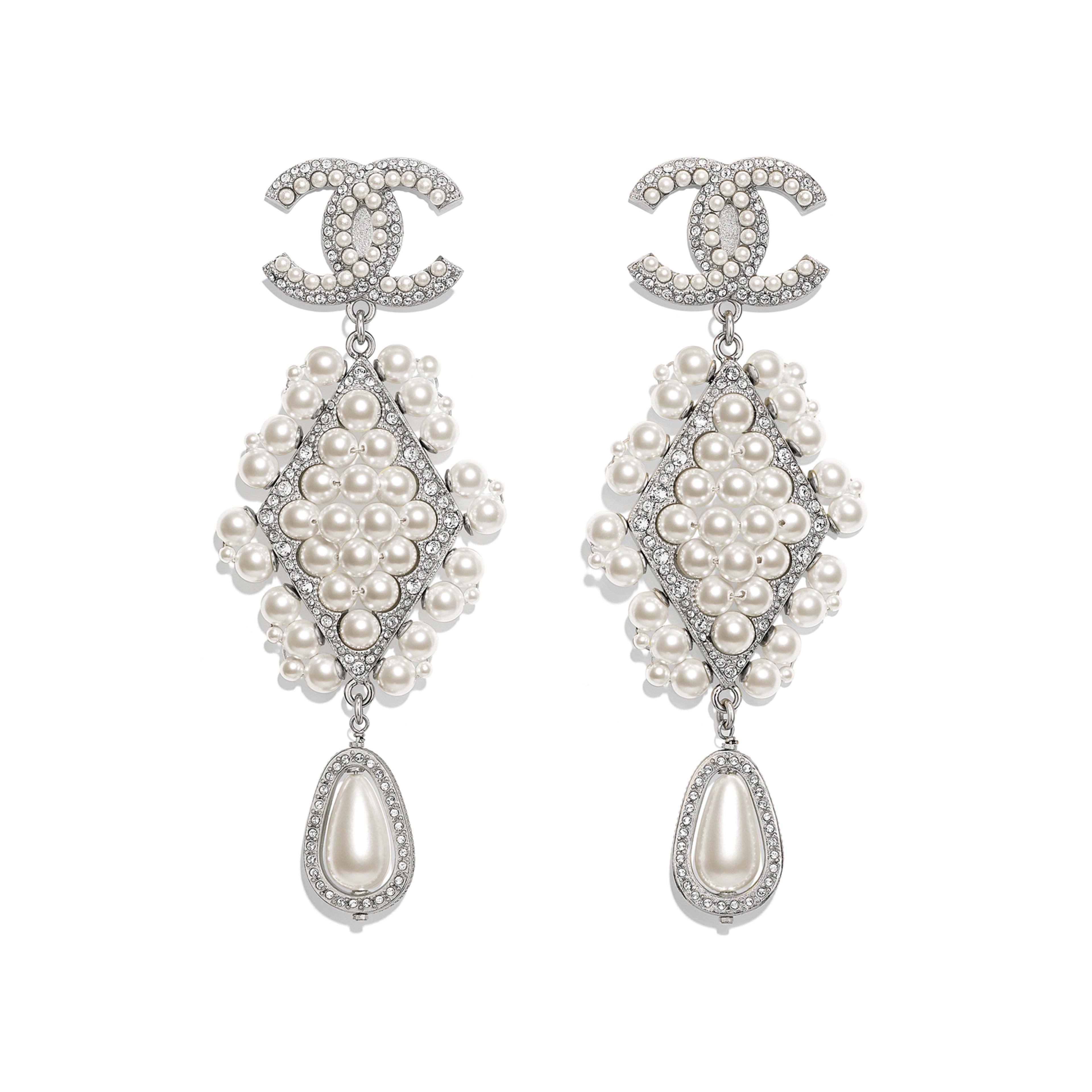 Clip-on Earrings - Silver, Pearly White & Crystal - Metal, Glass Pearls & Strass - Default view - see full sized version