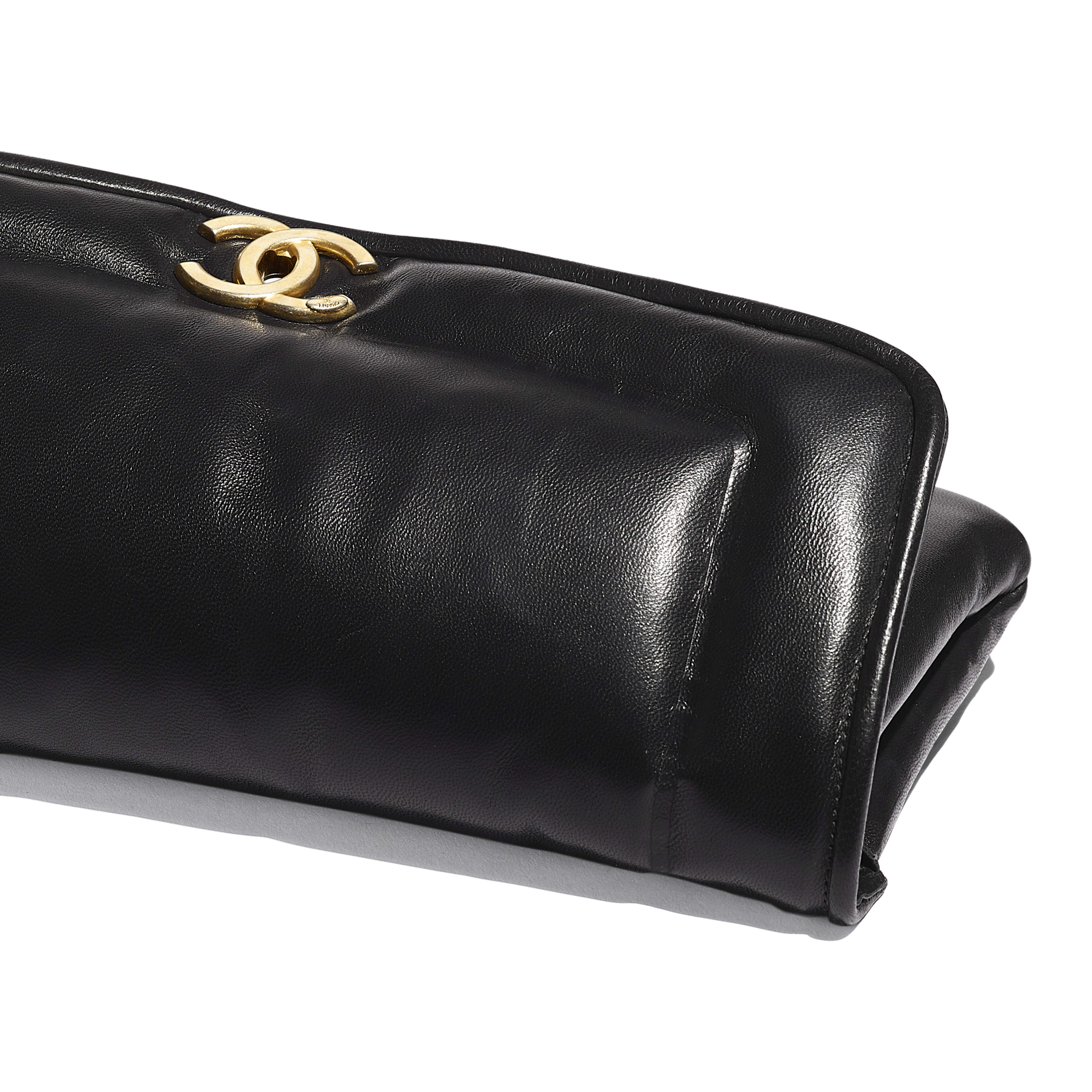 Clutch - Black - Lambskin & Gold-Tone Metal - Extra view - see full sized version