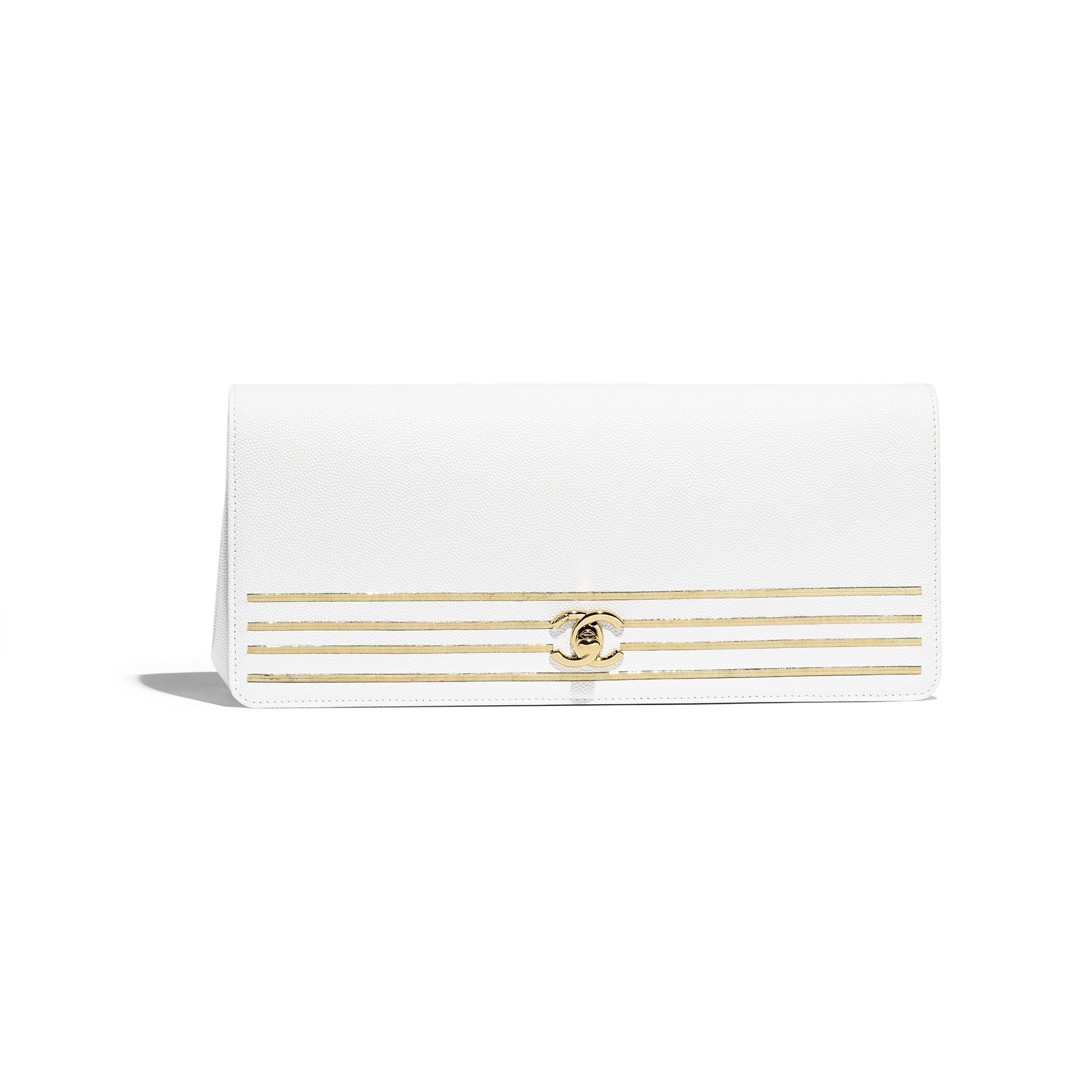 07b153064bed Clutch - White - Embroidered Grained Calfskin   Gold-Tone Metal - Default  view ...