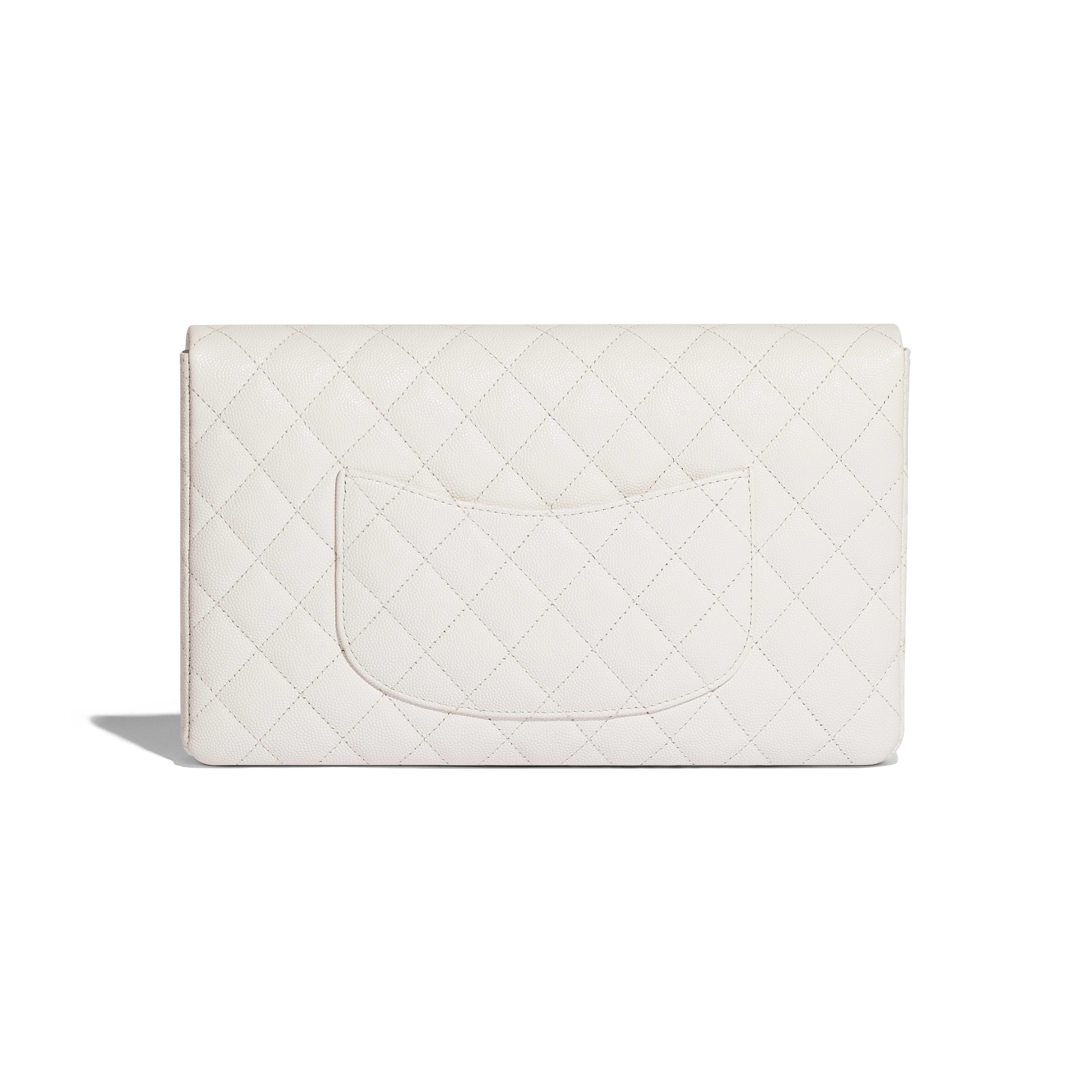 กระเป๋าคลัทช์ - สีขาว - หนังลูกวัวลายเกรน, โลหะสีทอง - มุมมองทางอื่น - ดูเวอร์ชันขนาดเต็ม