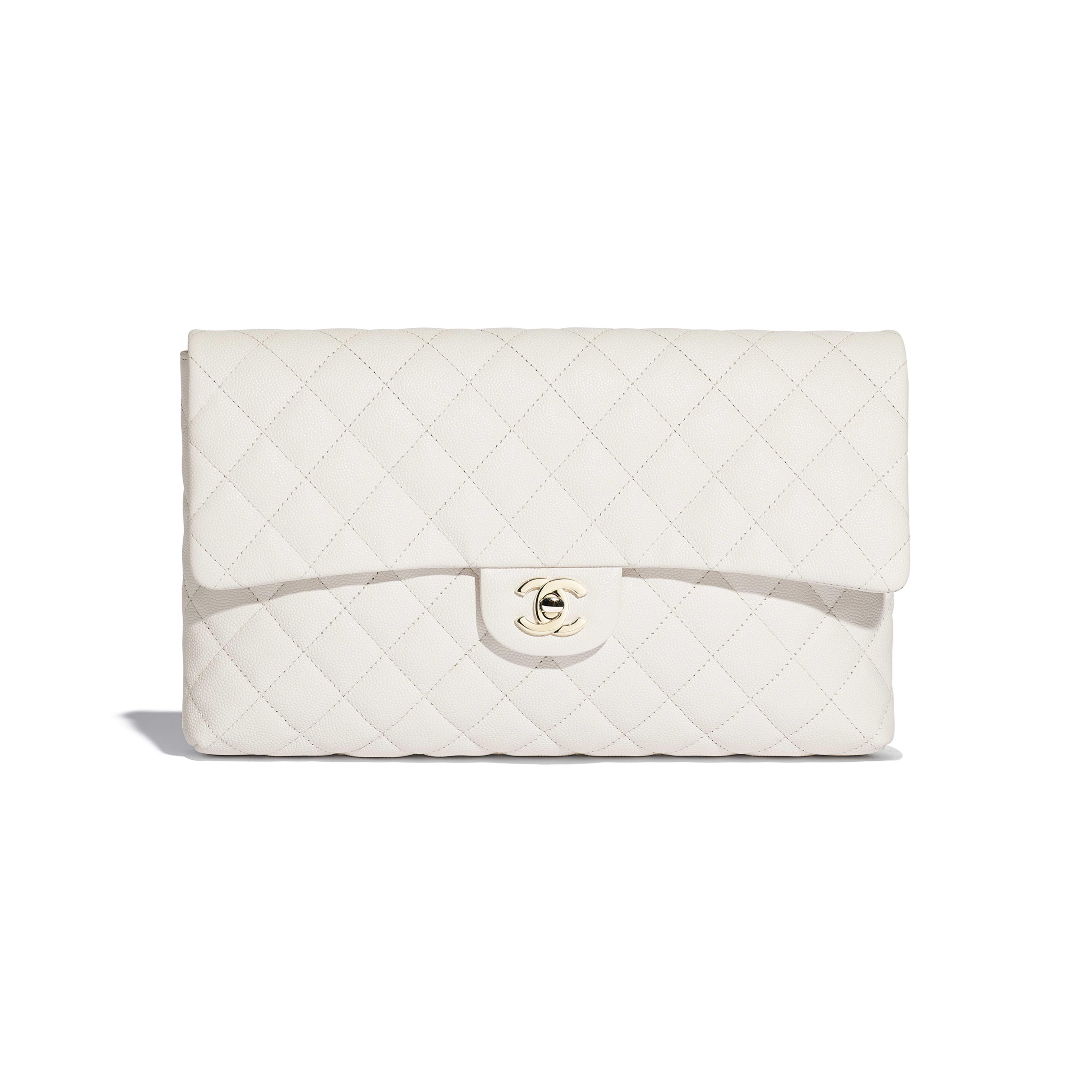 กระเป๋าคลัทช์ - สีขาว - หนังลูกวัวลายเกรน, โลหะสีทอง - มุมมองปัจจุบัน - ดูเวอร์ชันขนาดเต็ม