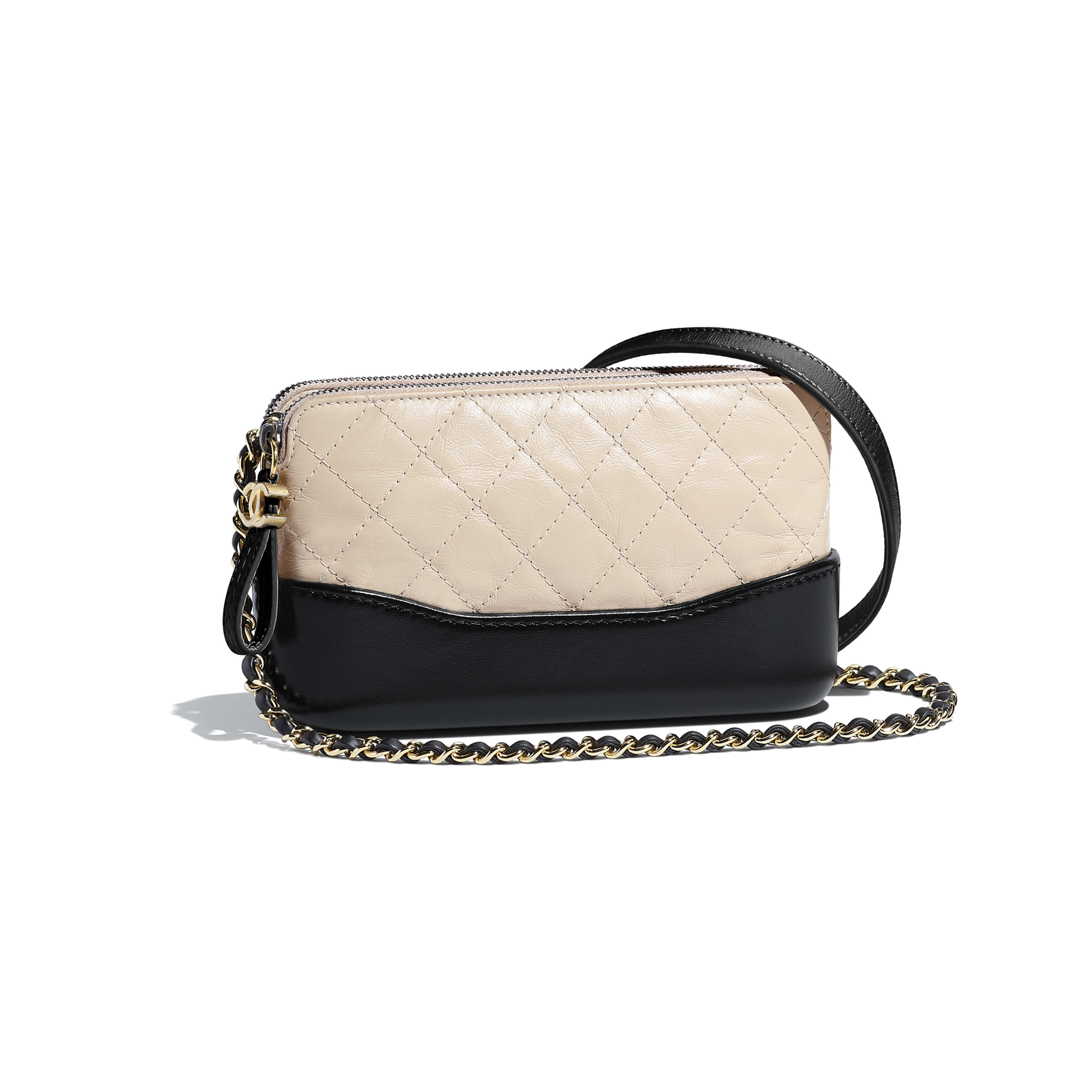 Clutch With Chain - Beige & Black - Aged Calfskin, Smooth Calfskin, Silver-Tone & Gold-Tone Metal - Default view - see full sized version