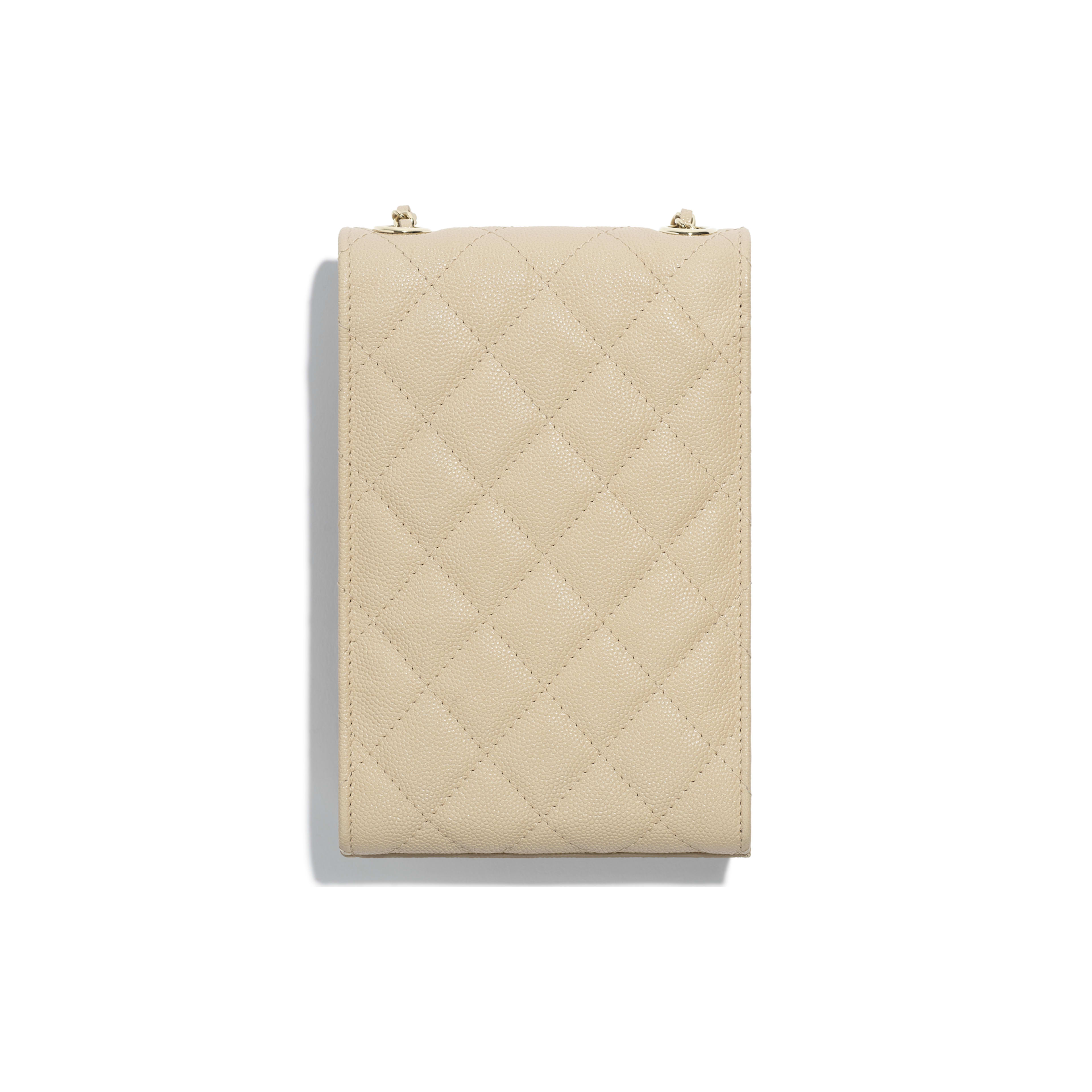 Clutch With Chain - Beige - Grained Goatskin & Gold Metal - Alternative view - see full sized version