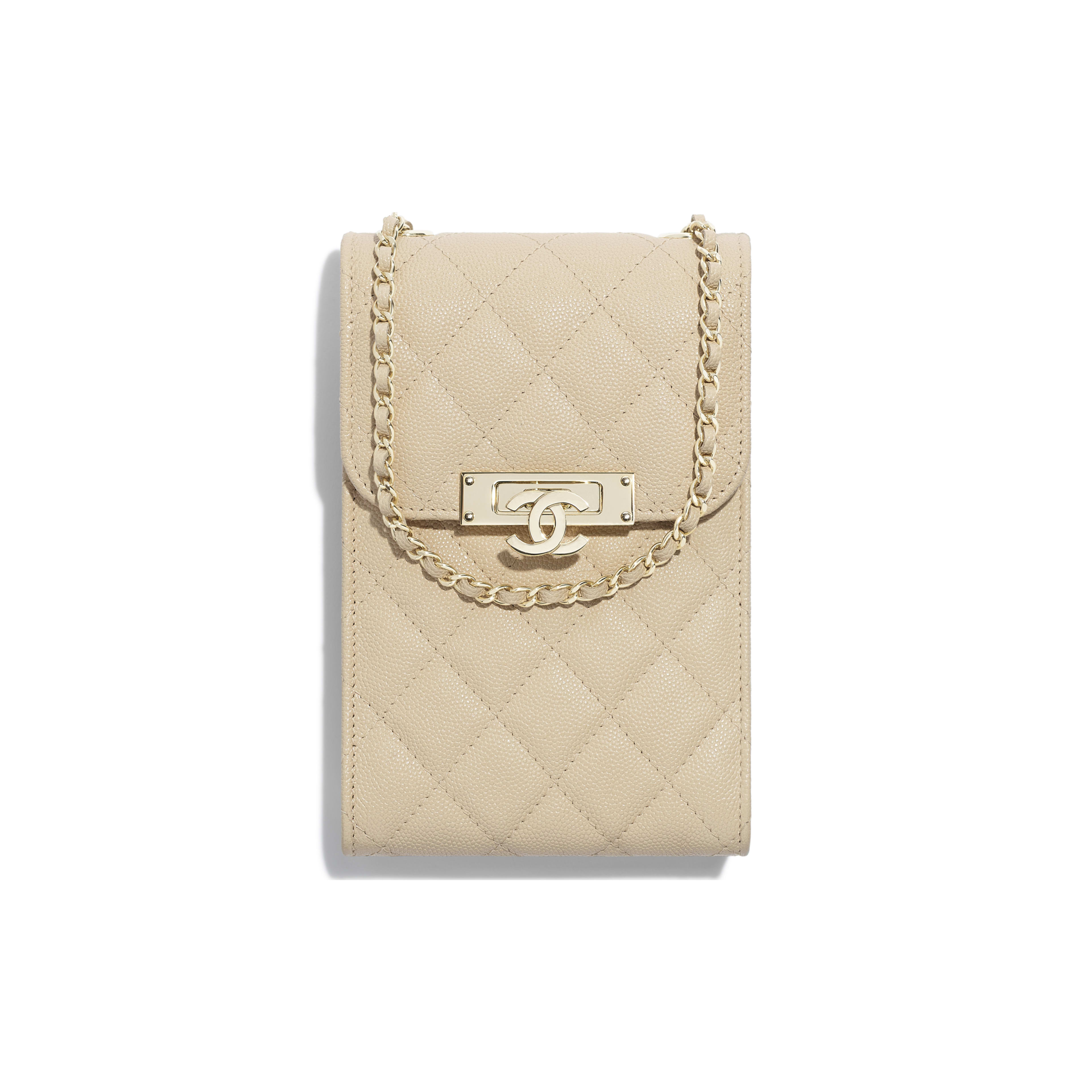 Clutch With Chain - Beige - Grained Goatskin & Gold Metal - Default view - see full sized version