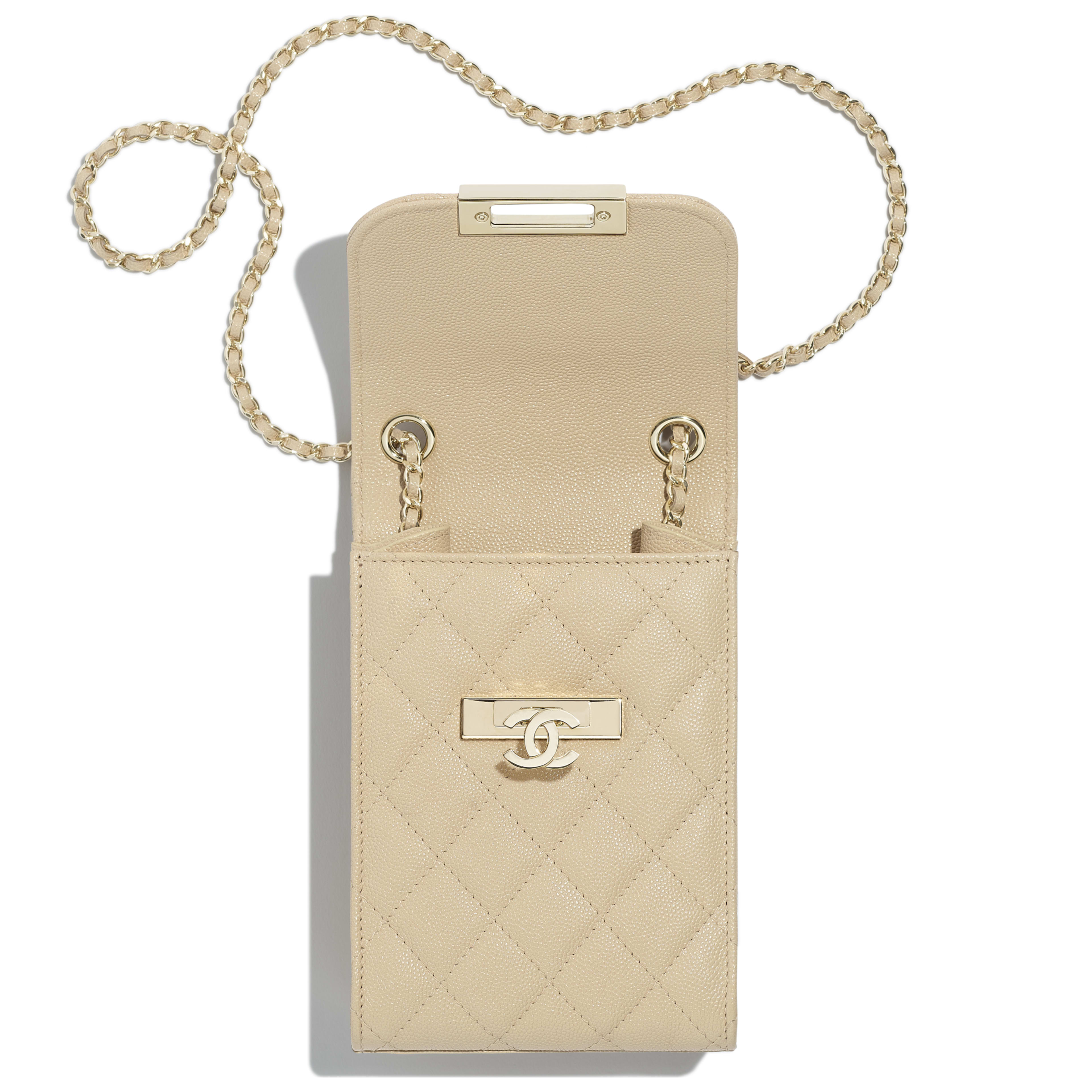 Clutch With Chain - Beige - Grained Goatskin & Gold Metal - Other view - see full sized version