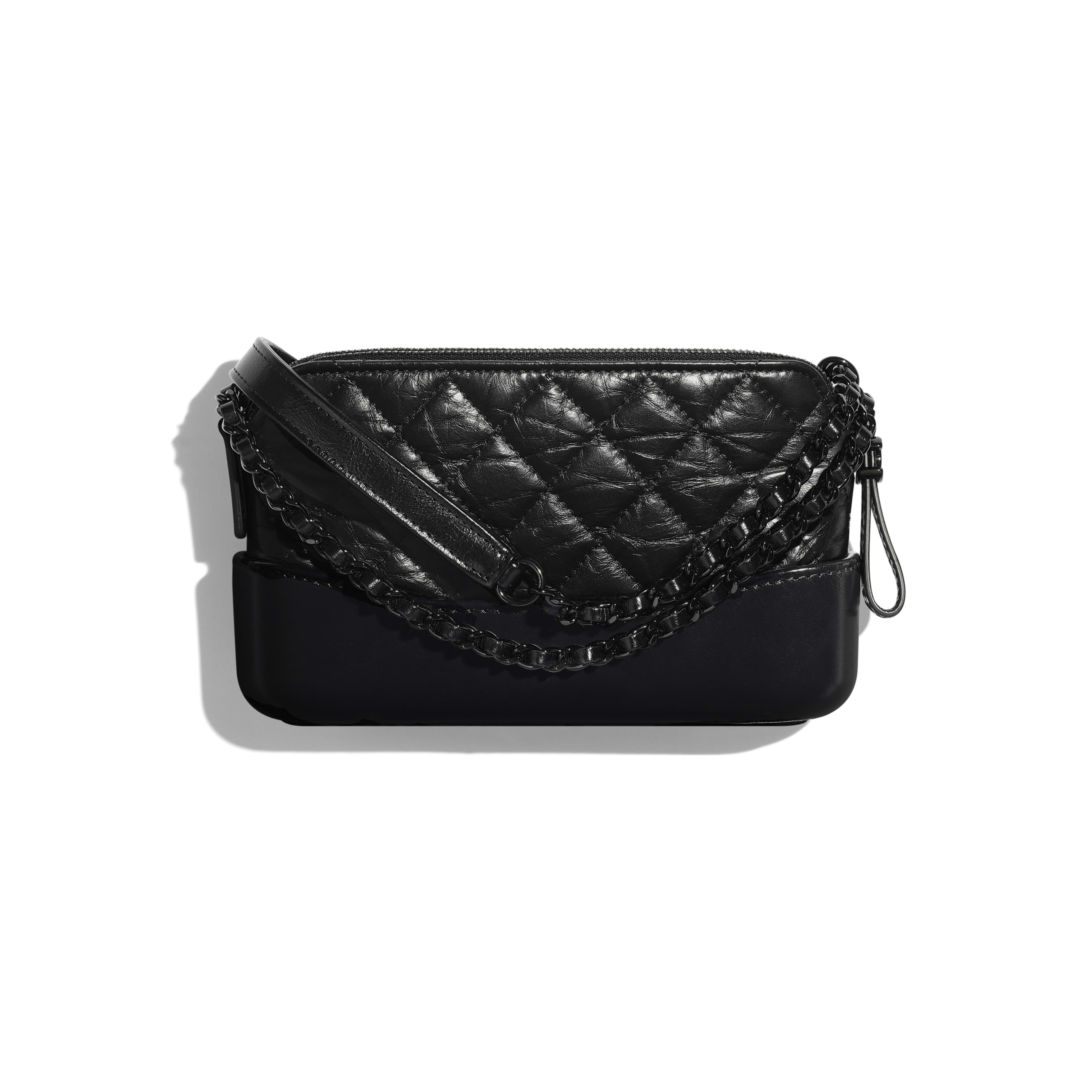 Aged Calfskin Smooth Black Metal Clutch With Chain Chanel