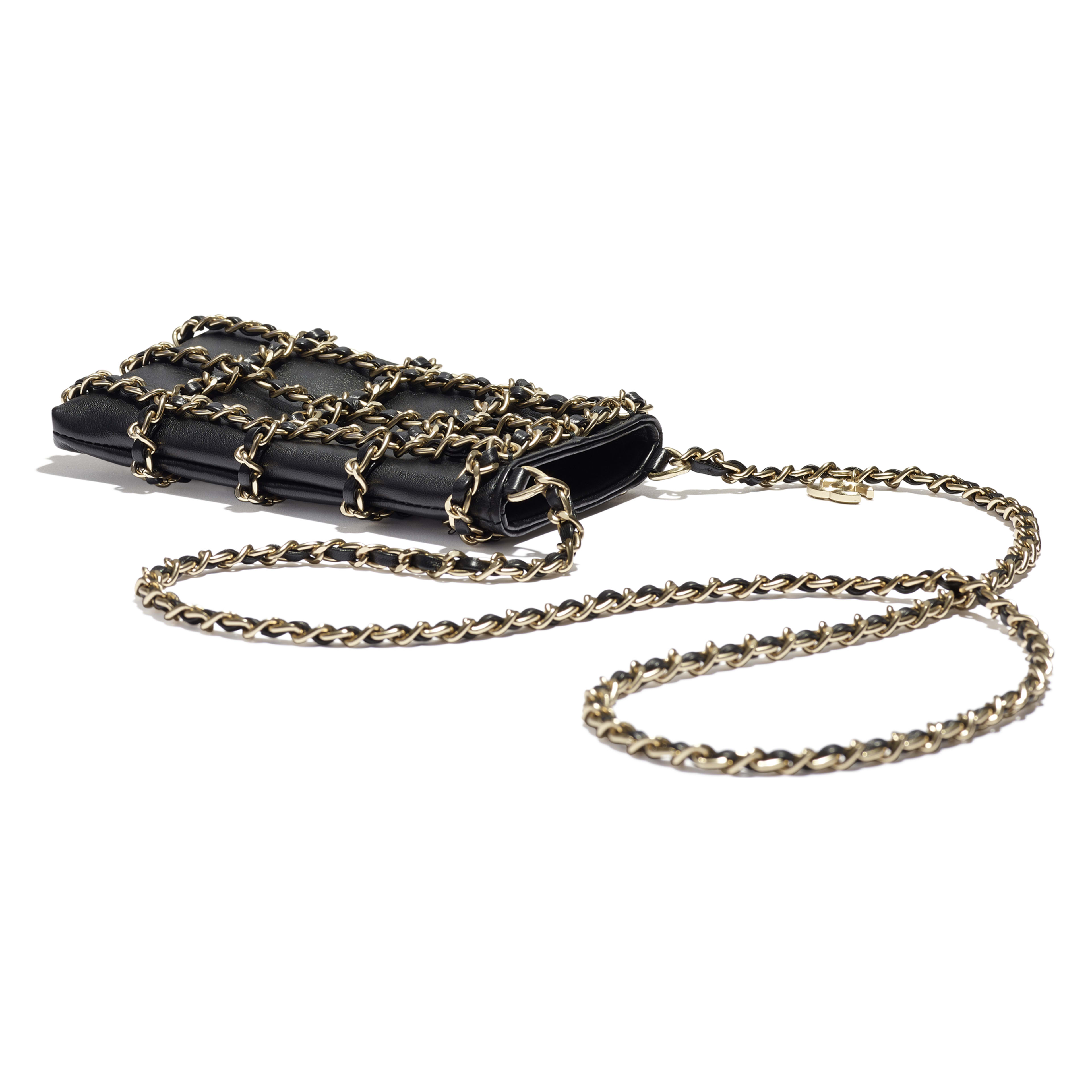 Clutch With Chain - Black - Lambskin - Extra view - see full sized version
