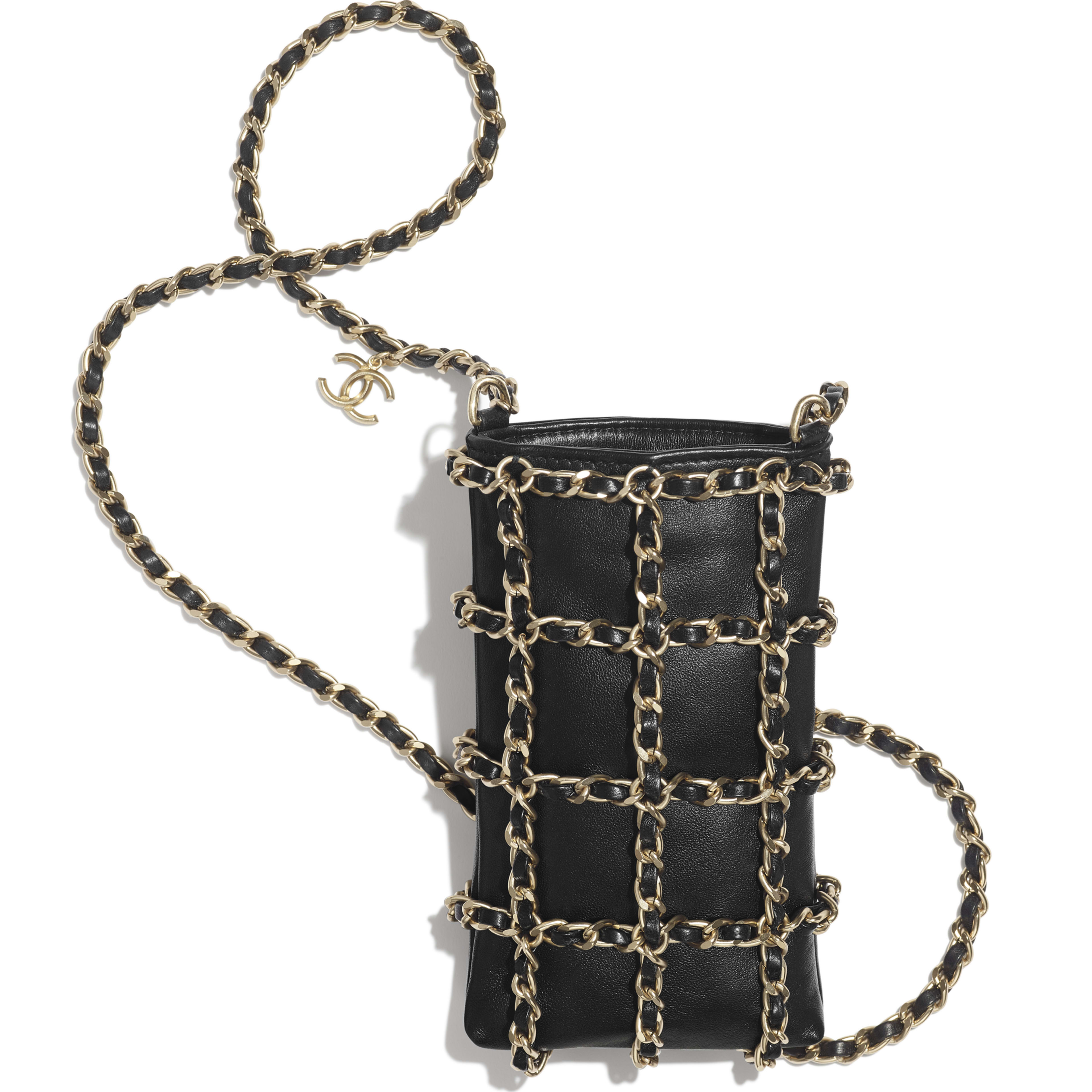 Clutch With Chain - Black - Lambskin - Other view - see full sized version