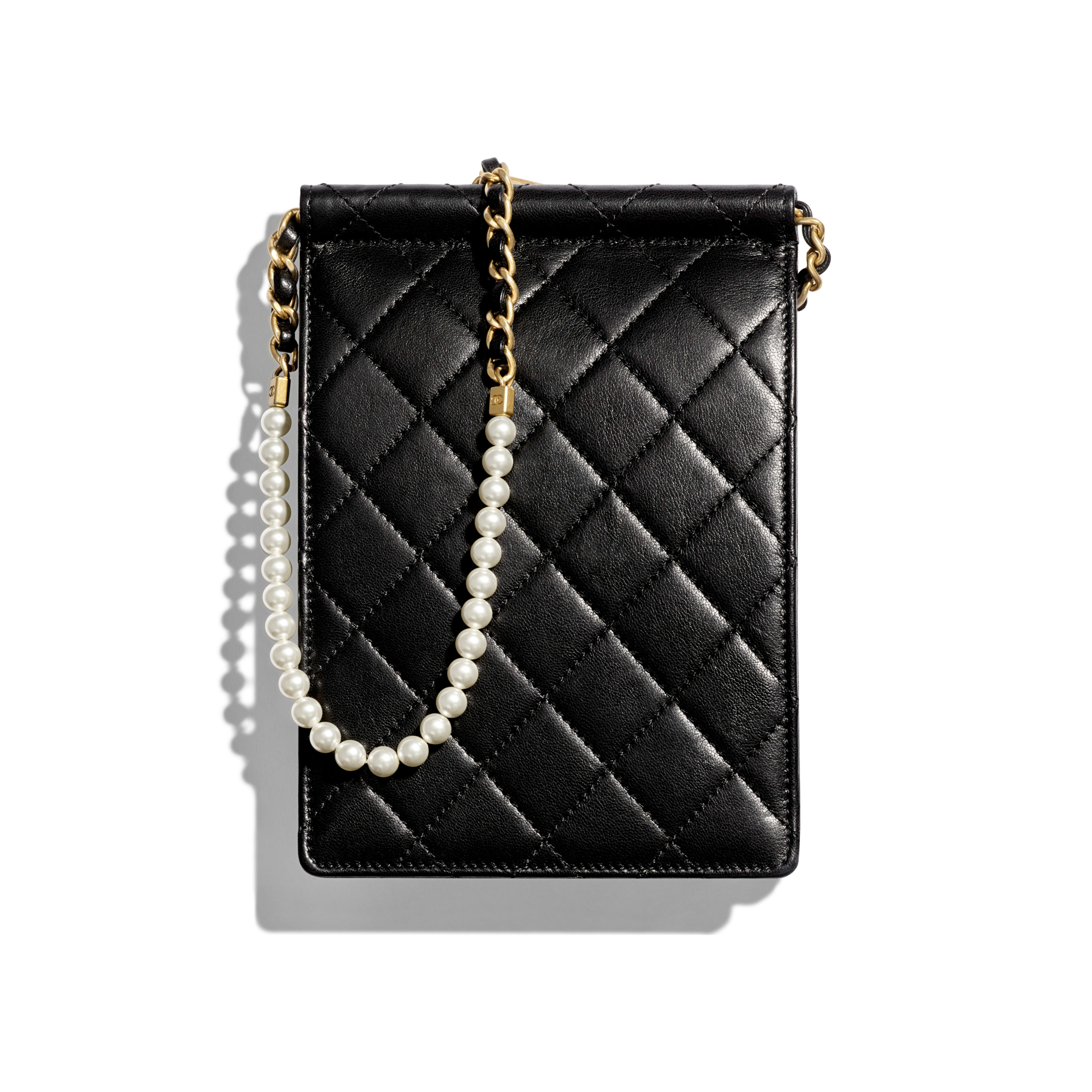 Clutch with Chain - Black - Lambskin, Imitation Pearls & Gold-Tone Metal - Alternative view - see full sized version
