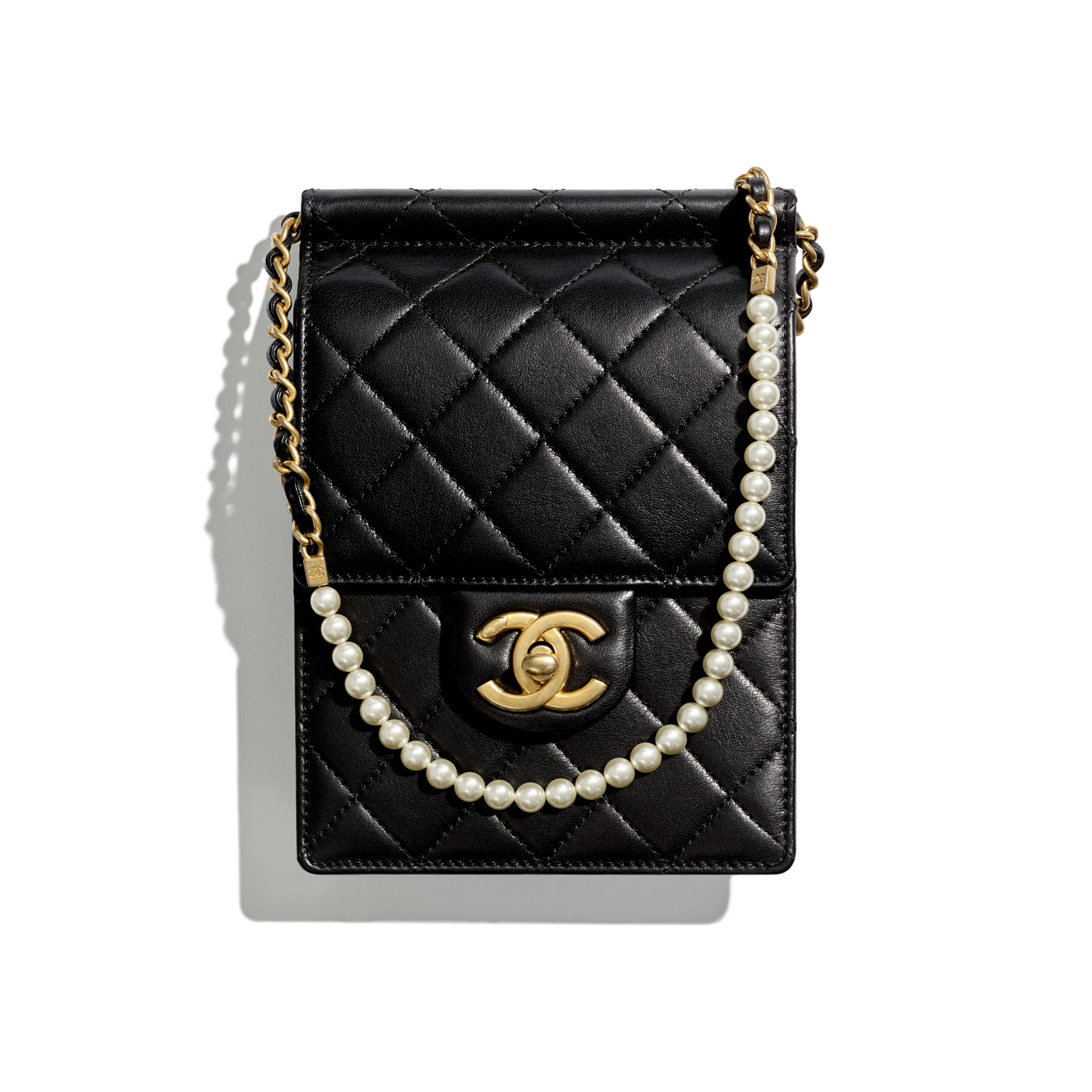 Clutch with Chain - Black - Lambskin, Imitation Pearls & Gold-Tone Metal - Default view - see full sized version