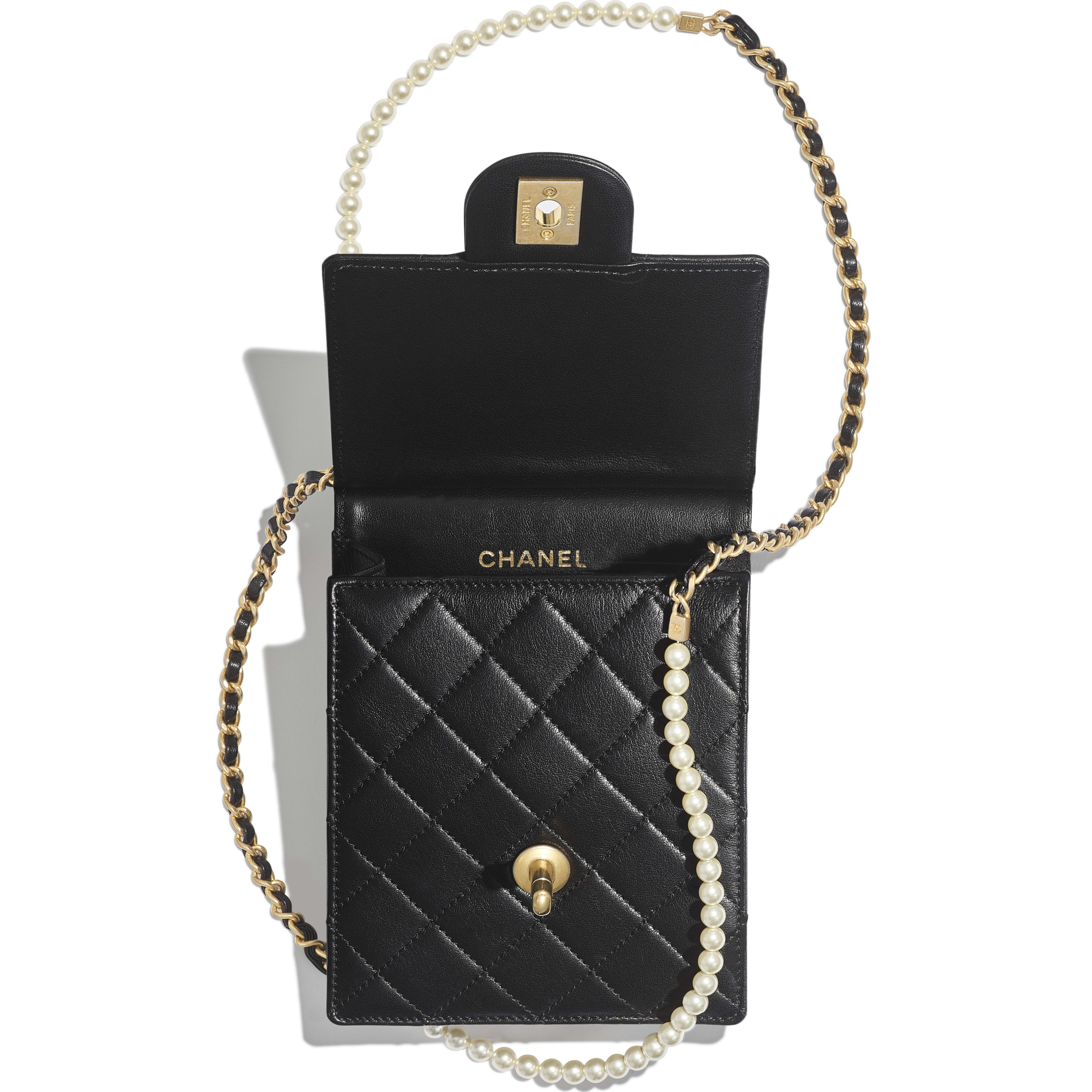 Clutch with Chain - Black - Lambskin, Imitation Pearls & Gold-Tone Metal - Other view - see full sized version