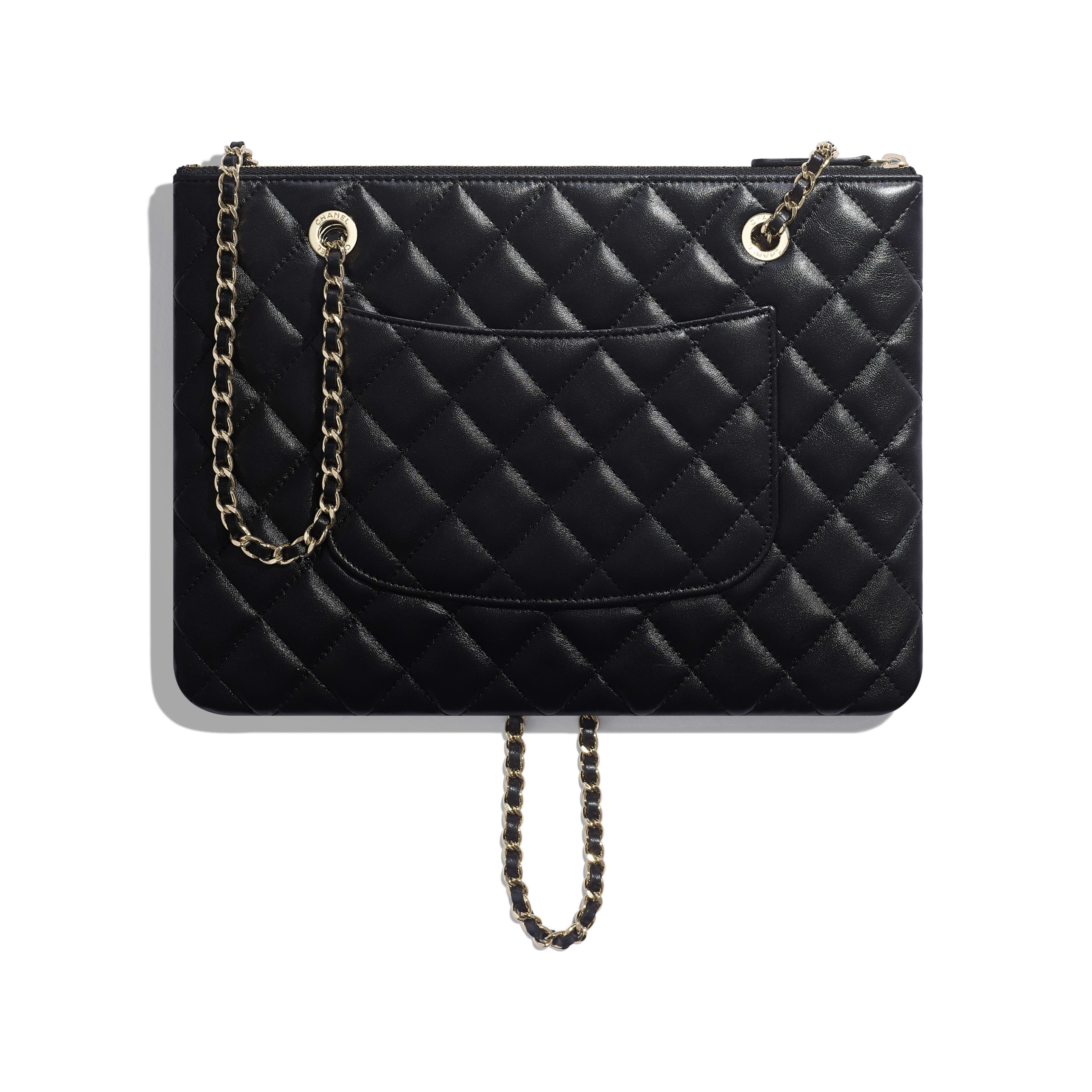 Clutch With Chain - Black - shiny lambskin & gold-tone metal - Alternative view - see full sized version