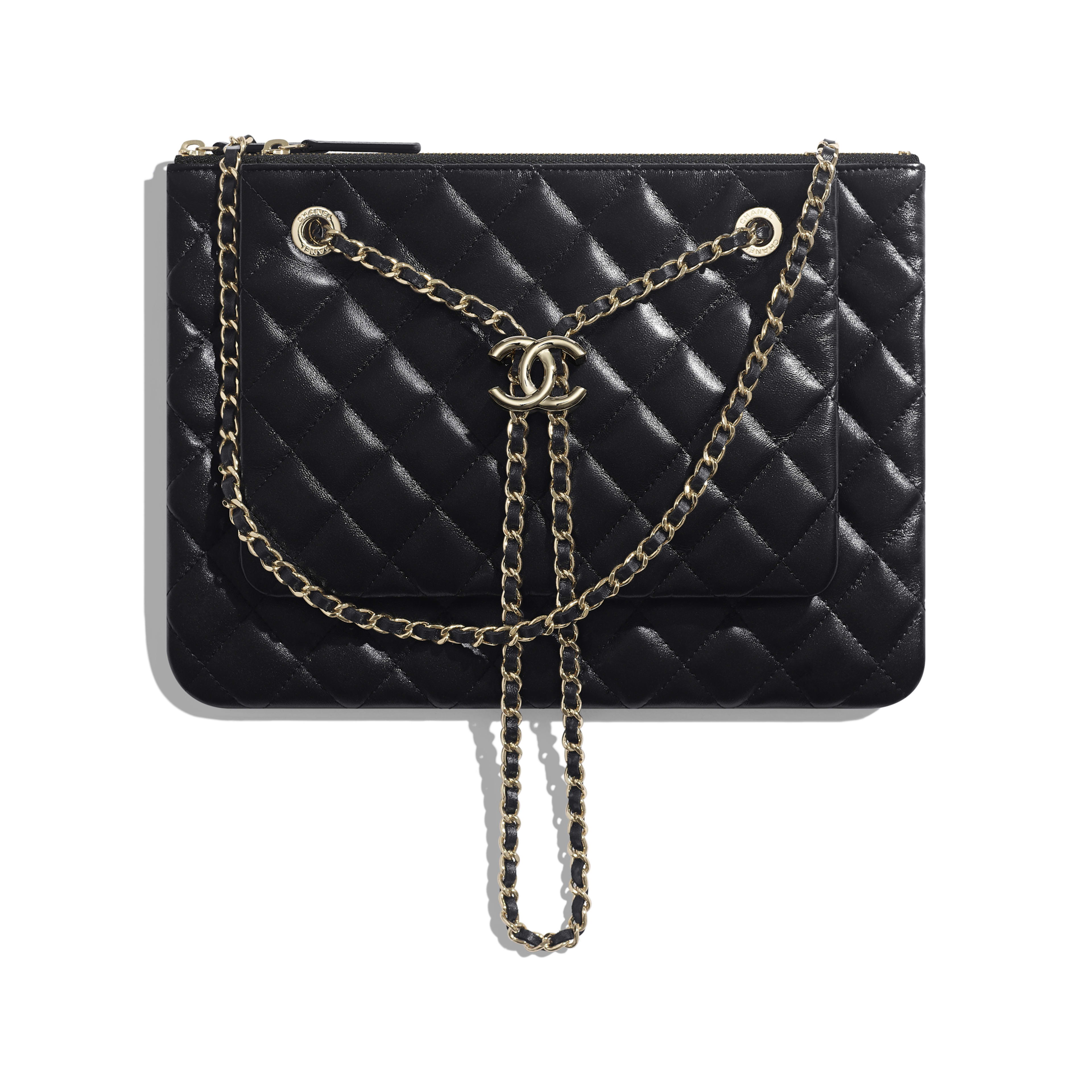 Clutch With Chain - Black - shiny lambskin & gold-tone metal - Default view - see full sized version