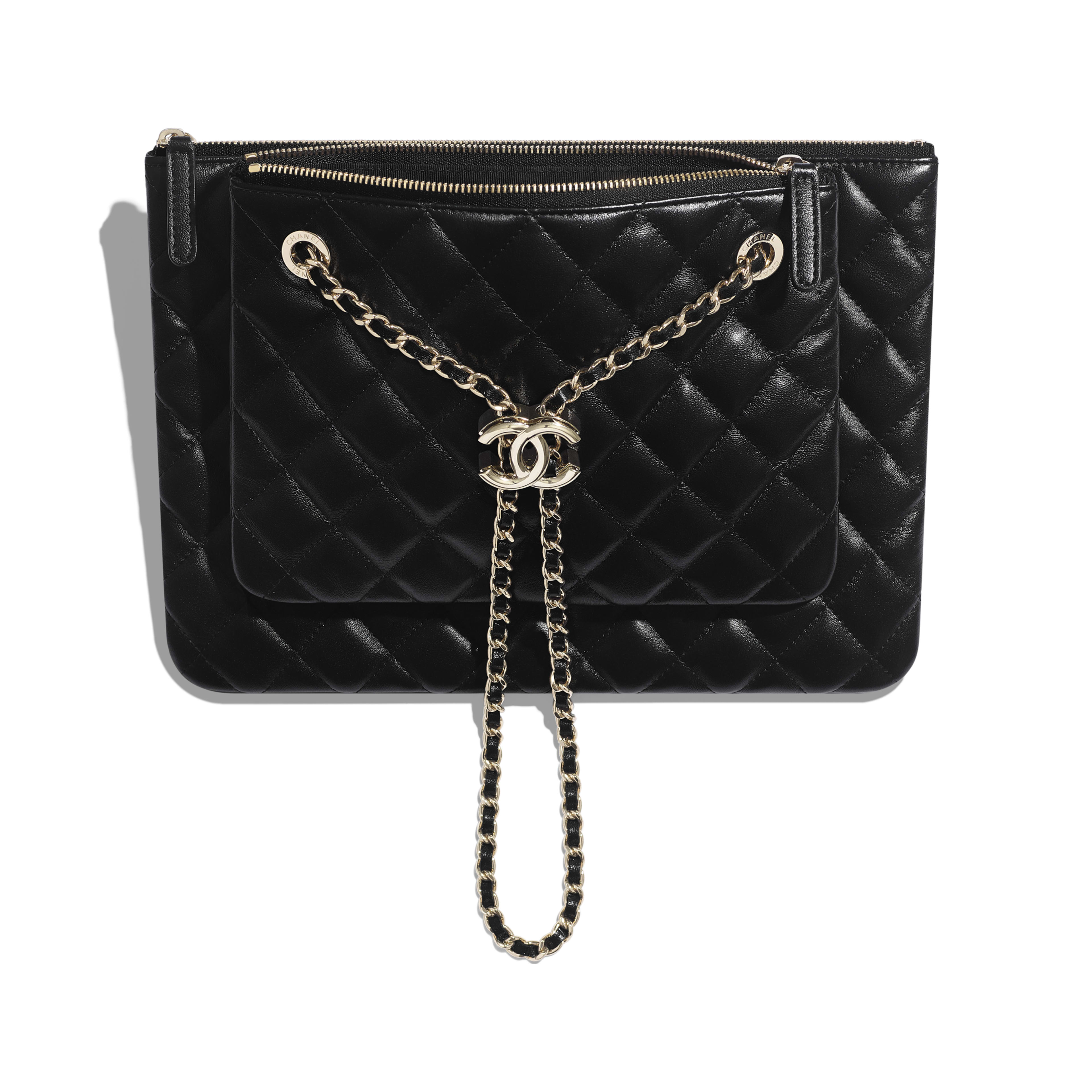 Clutch With Chain - Black - shiny lambskin & gold-tone metal - Other view - see full sized version