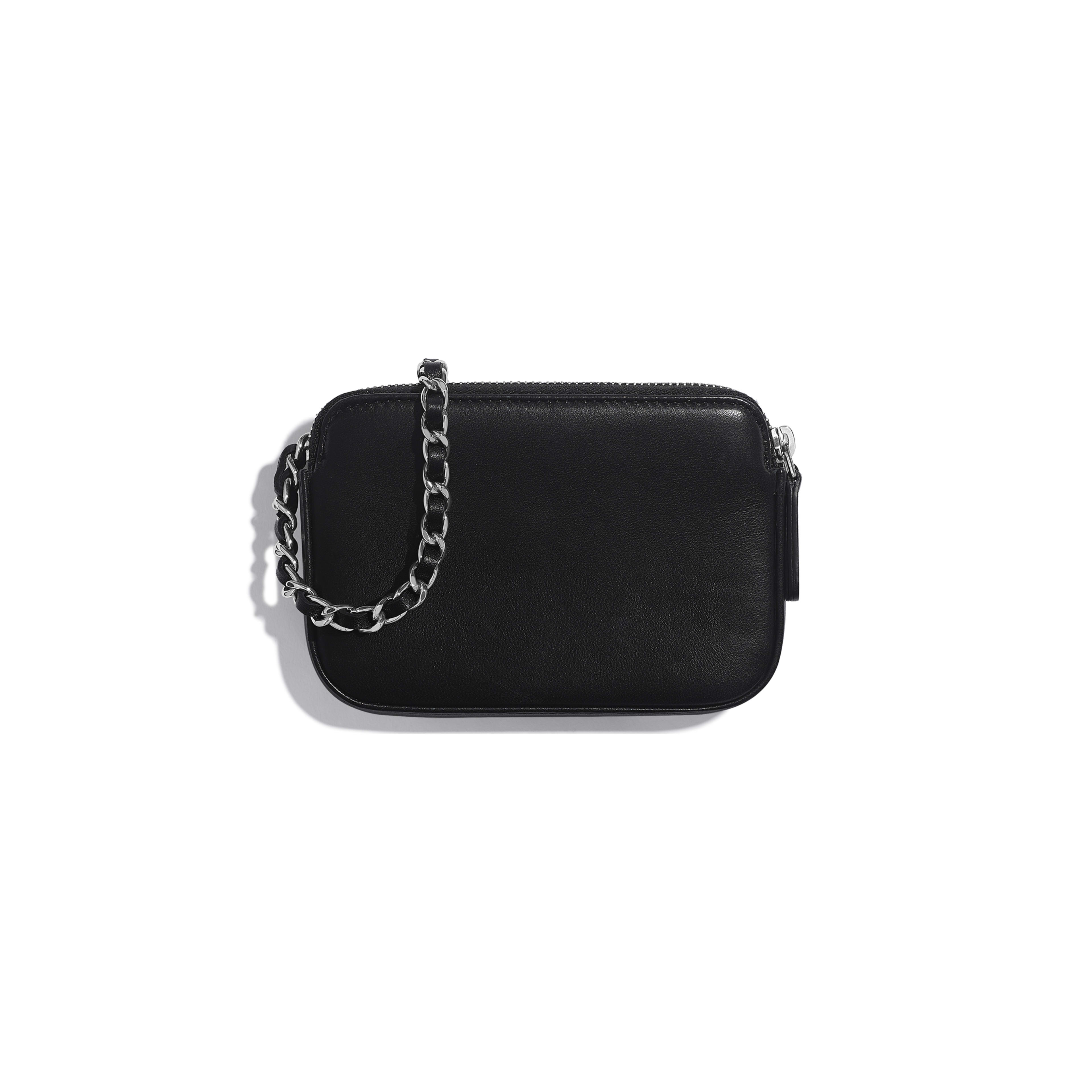 Clutch With Chain - Black, Silver & White - Lambskin, Sequins & Silver-Tone Metal - Alternative view - see full sized version