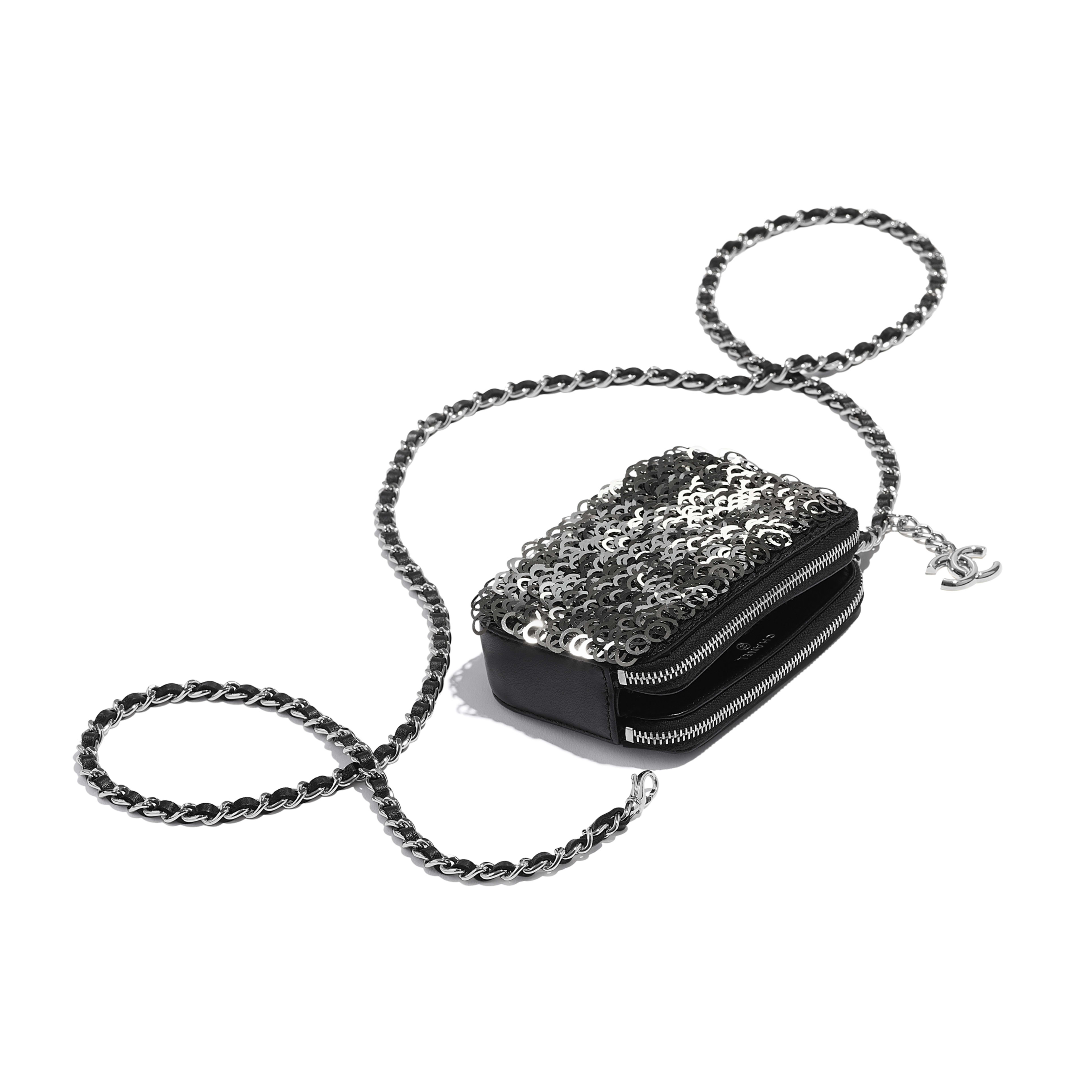 Clutch With Chain - Black, Silver & White - Lambskin, Sequins & Silver-Tone Metal - Extra view - see full sized version