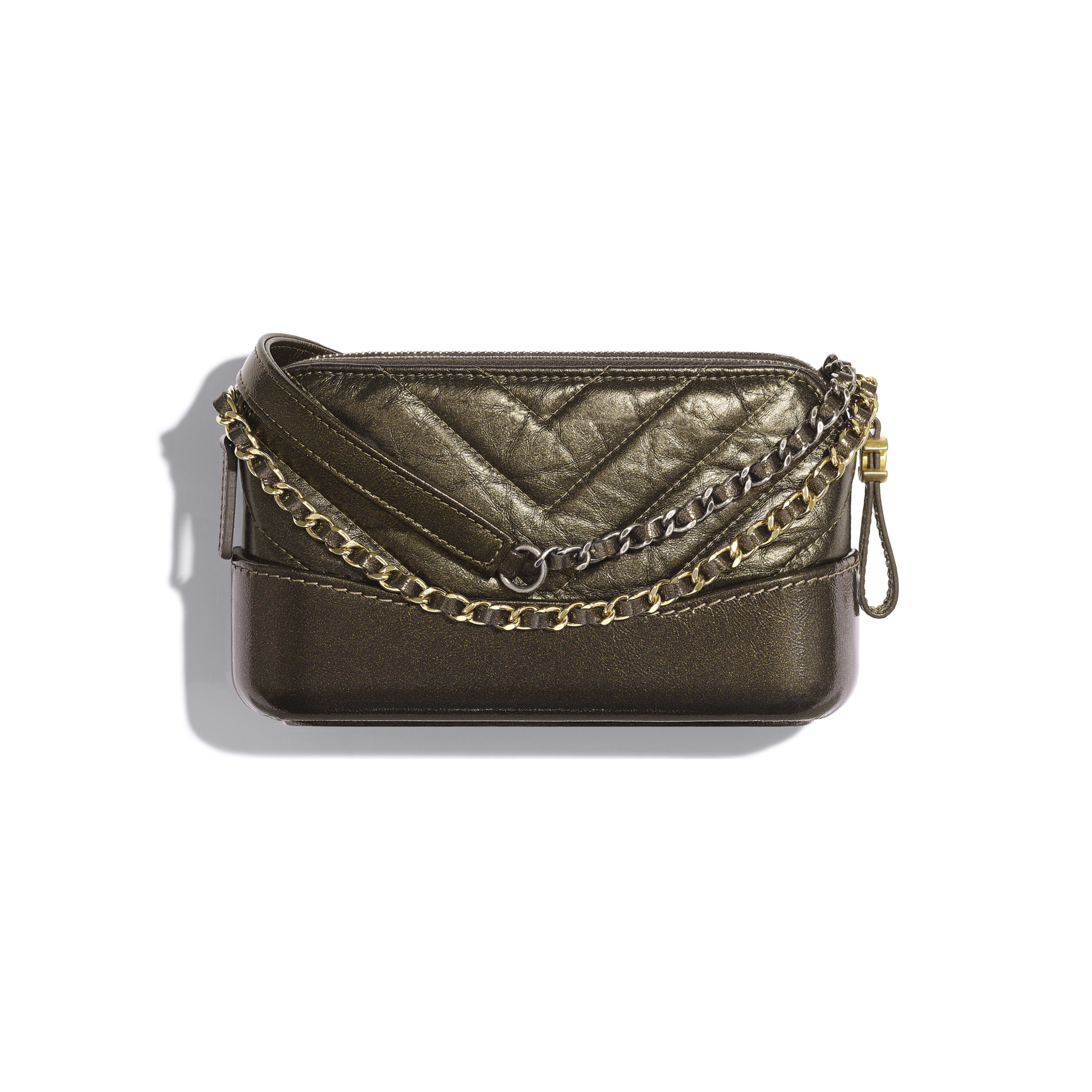 Clutch with Chain - Gold - Glittered Aged Calfskin, Gold-Tone & Silver-Tone Metal - Alternative view - see full sized version