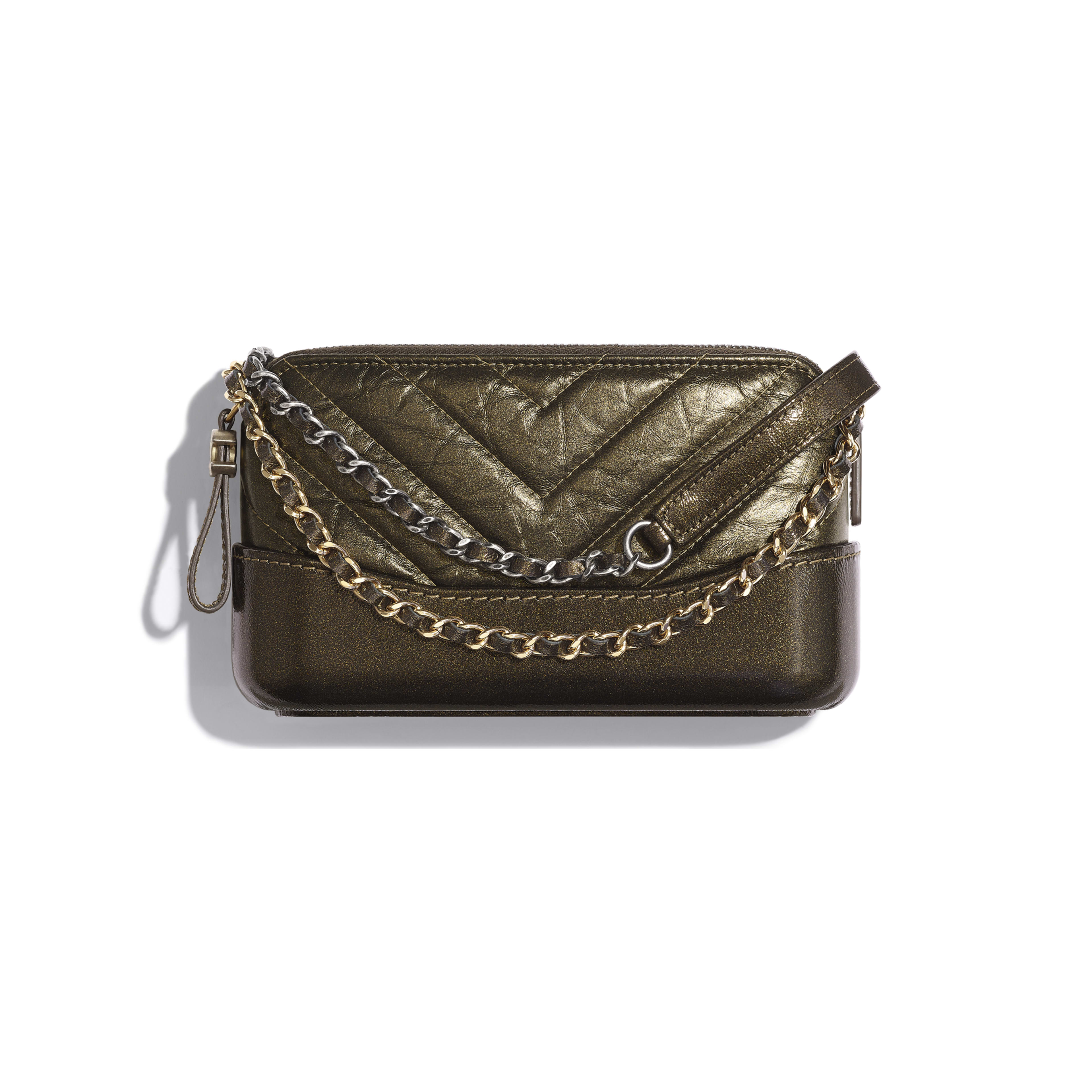 Clutch with Chain - Gold - Glittered Aged Calfskin, Gold-Tone & Silver-Tone Metal - Default view - see full sized version