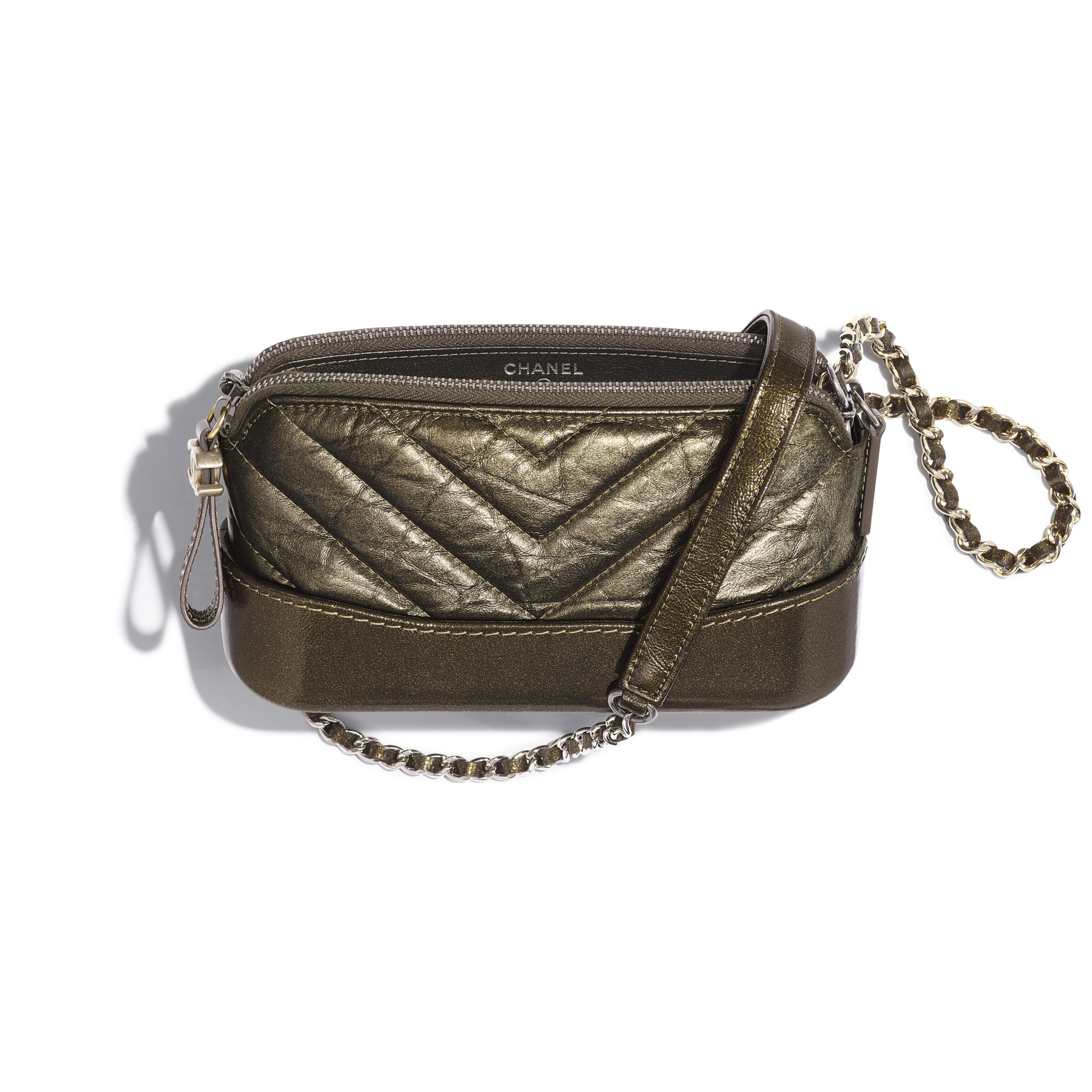 Clutch with Chain - Gold - Glittered Aged Calfskin, Gold-Tone & Silver-Tone Metal - Other view - see full sized version