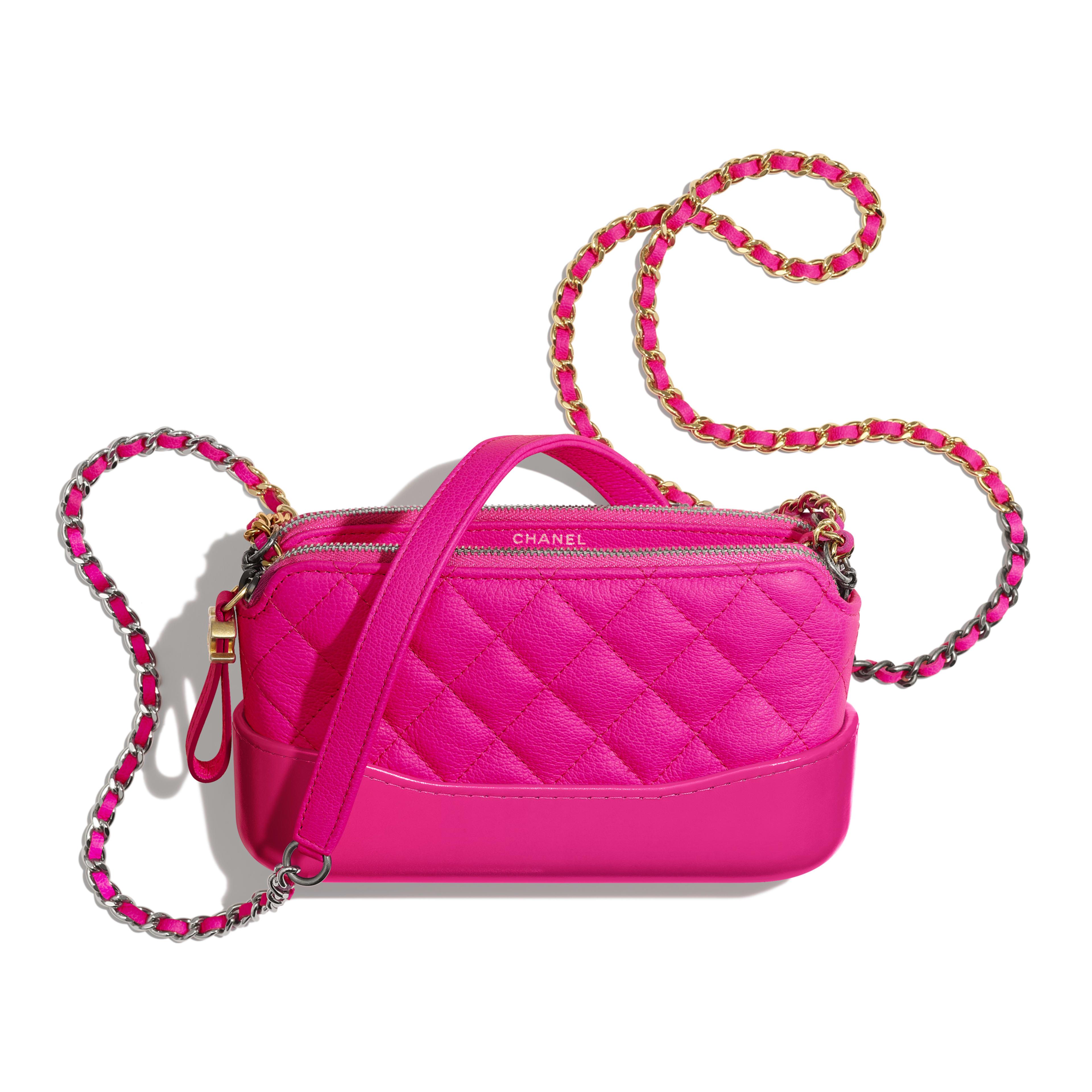 กระเป๋าคลัทช์พร้อมสายโซ่ - สีชมพู - หนังแพะ โลหะสีทองและโลหะสีเงิน - มุมมองอื่น - ดูเวอร์ชันขนาดเต็ม