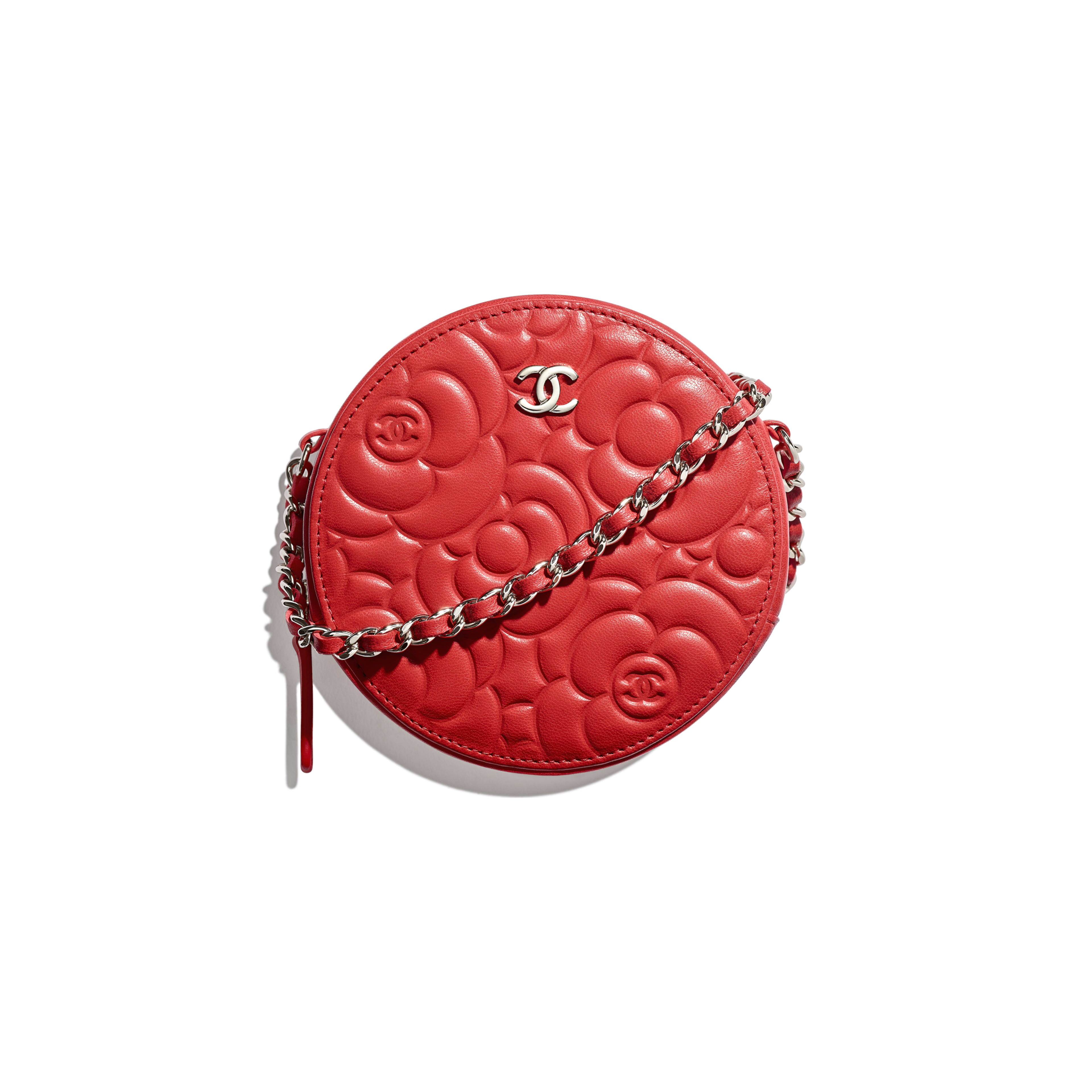 93970baecee6 Lambskin   Silver-Tone Metal Red Clutch with Chain