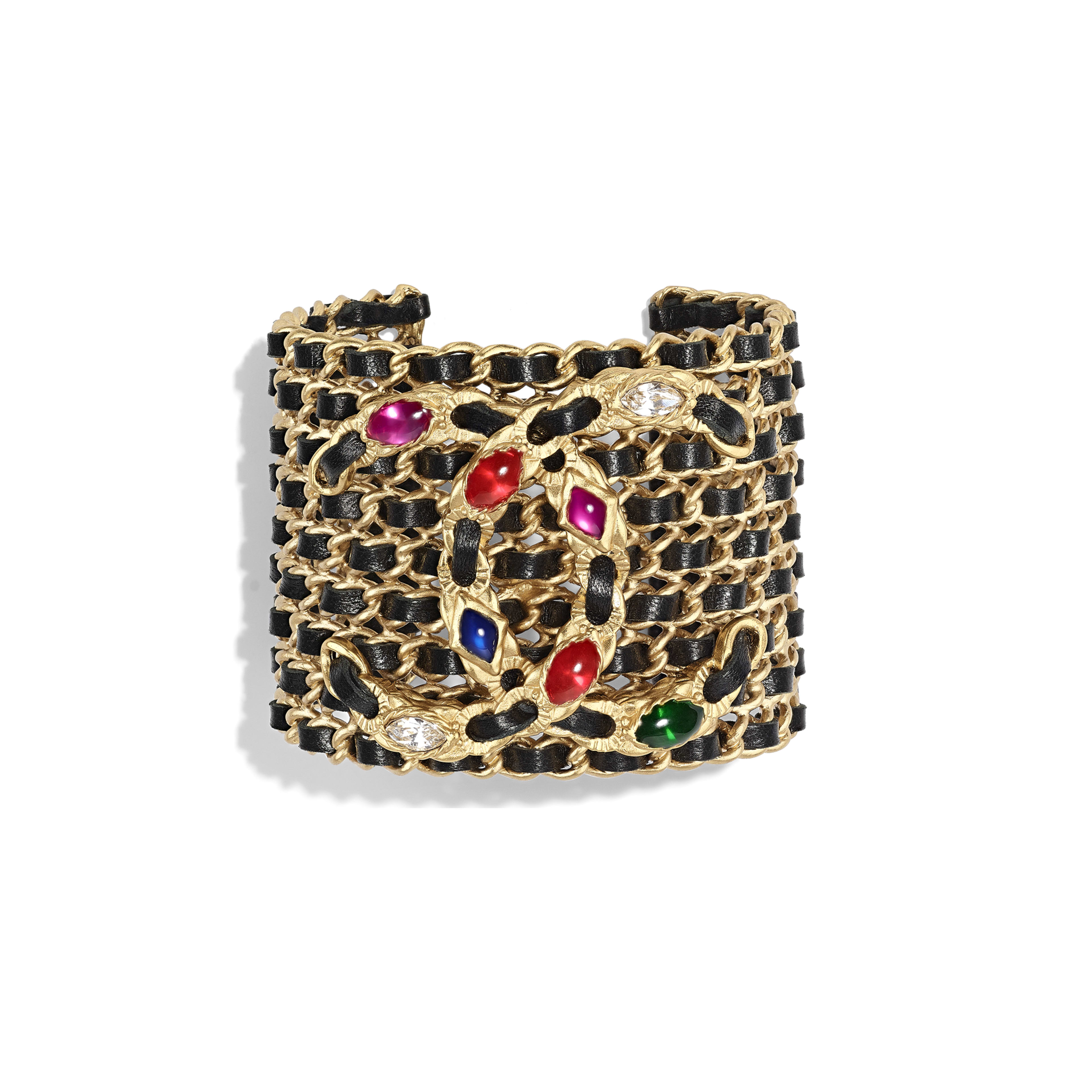 Cuff - Gold, Black, Crystal & Multicolor - Metal, lambskin, diamanté & resin - Default view - see full sized version