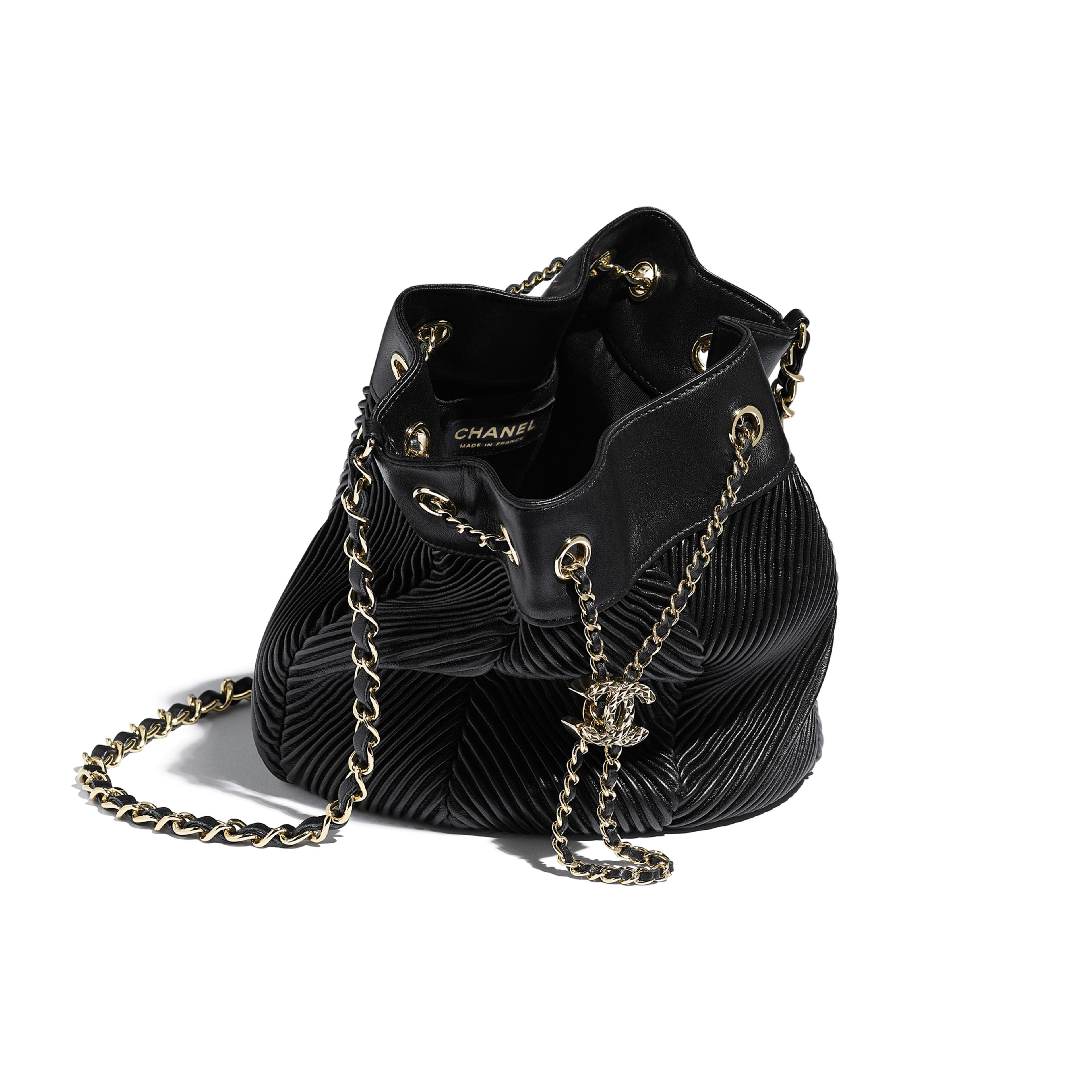 Lambskin Gold Tone Metal Black Drawstring Bag Chanel