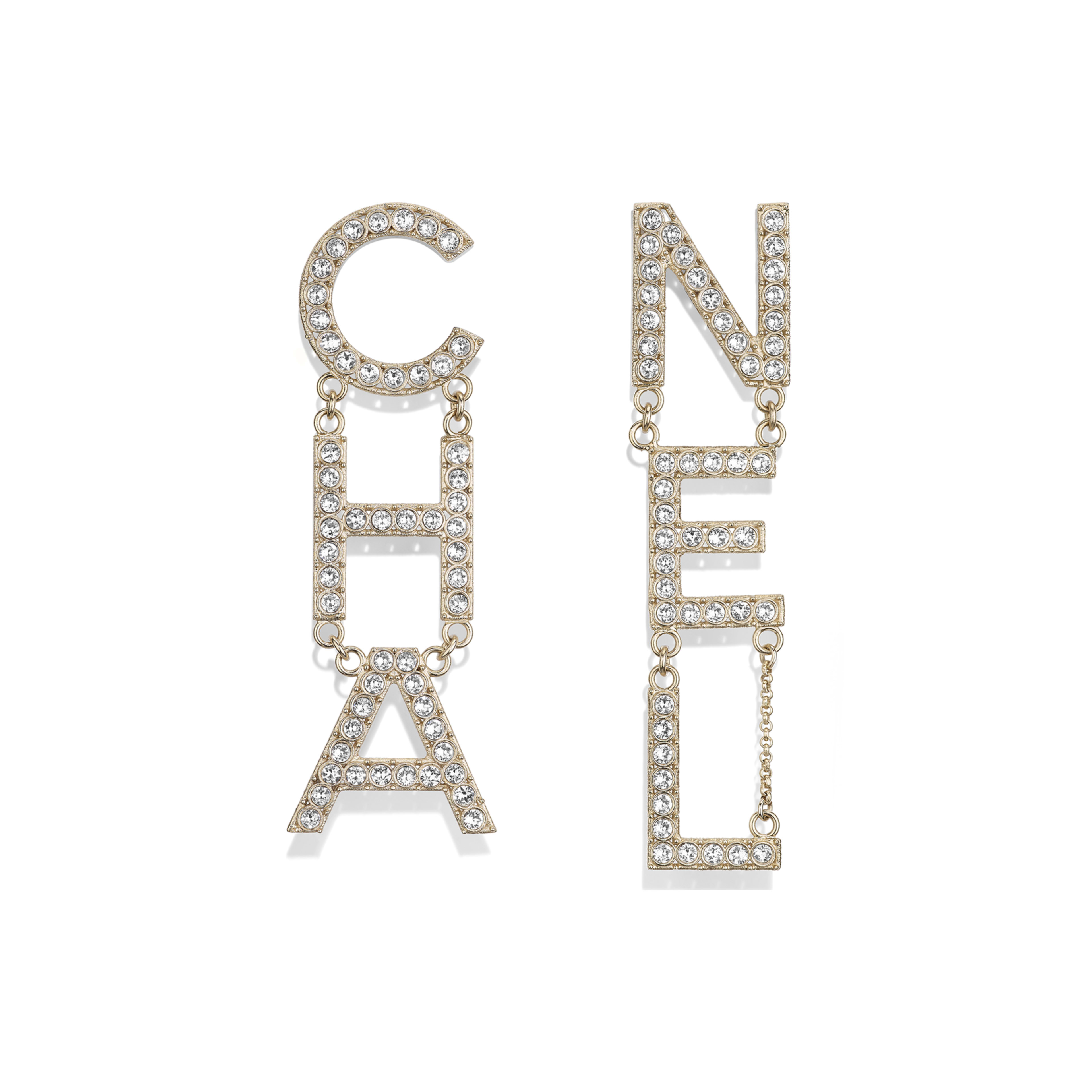 Metal & Strass Gold & Crystal Earrings | CHANEL