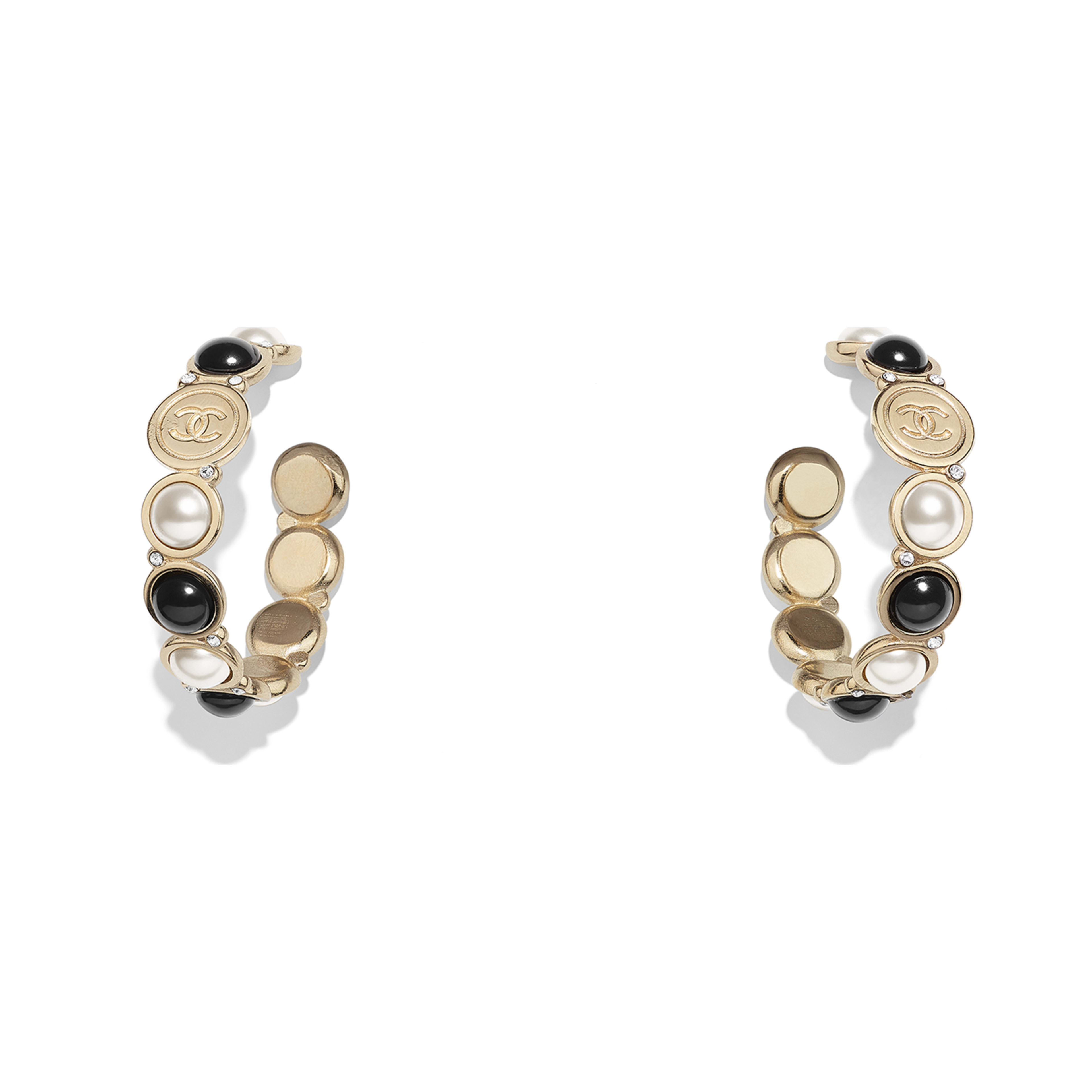 Earrings - Gold, Pearly White, Black & Crystal - Metal, Glass Pearls, Imitation Pearls & Diamanté - Default view - see full sized version