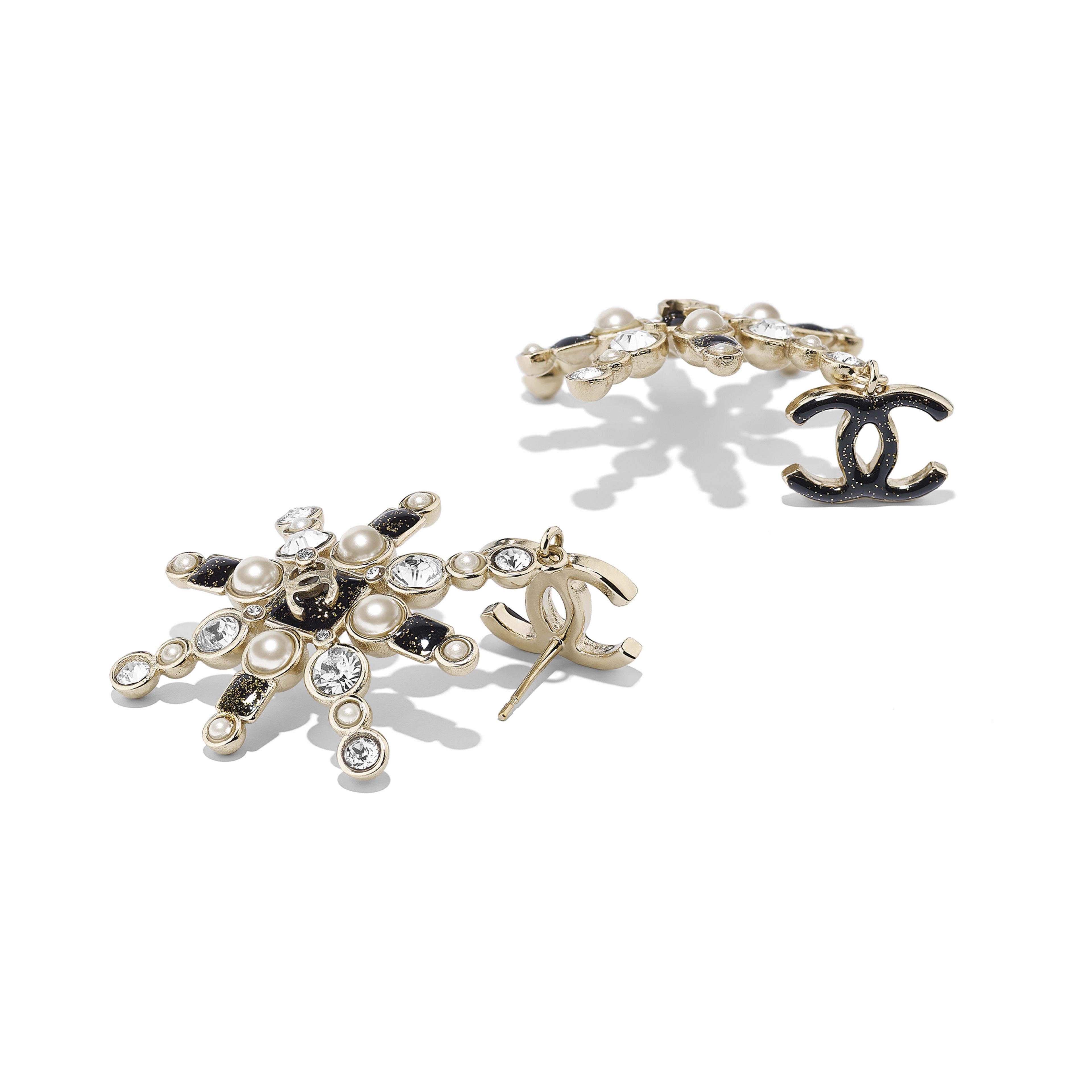 Серьги - золотистый, жемчужно-белый, черный и кристальный - Металл, стеклянный жемчуг и стразы - Альтернативный вид - посмотреть полноразмерное изображение