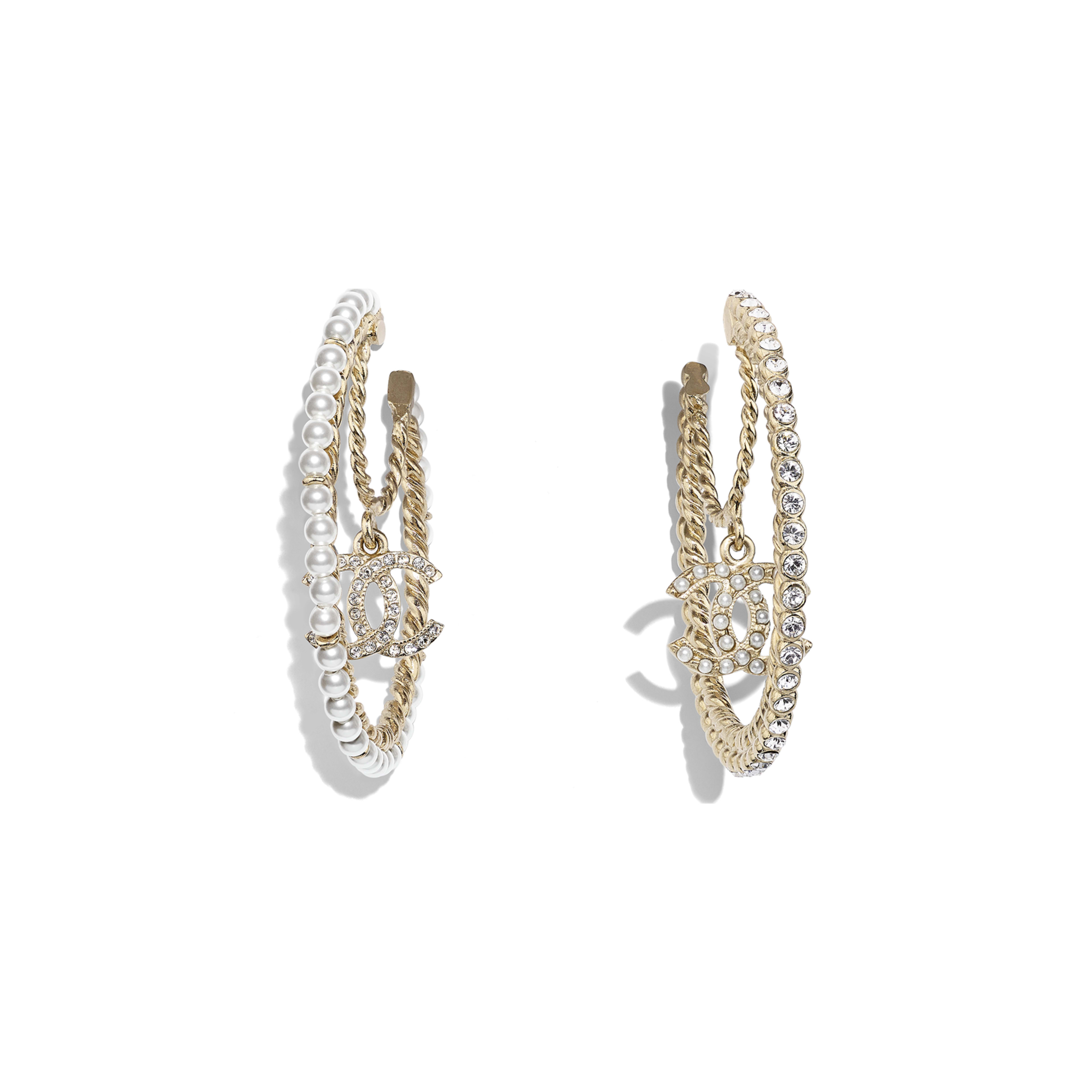 Earrings - Gold, Pearly White & Crystal - Metal, Glass Pearls & Diamantés - Default view - see full sized version