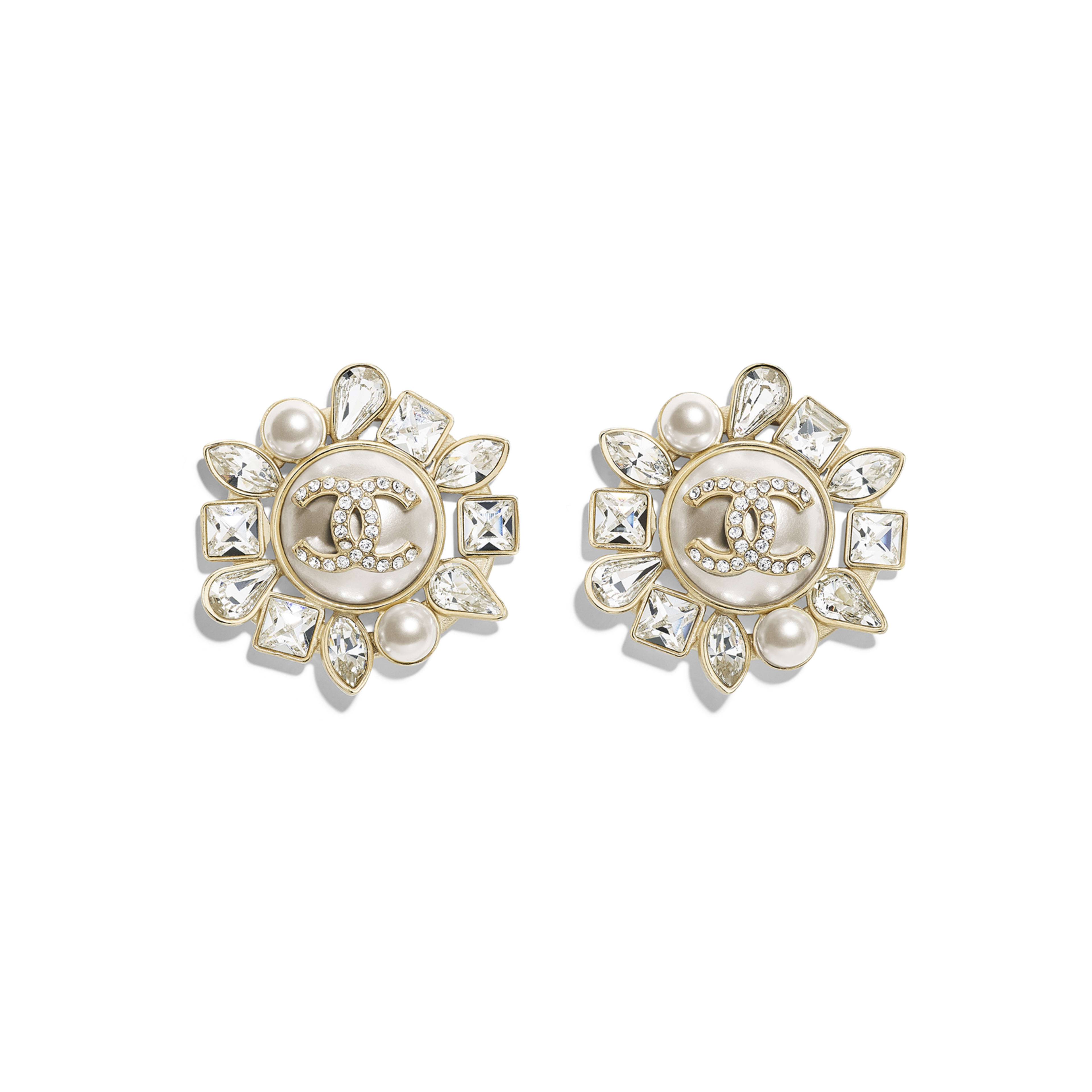 Earrings - Gold, Pearly White & Crystal - Metal, Glass Pearls, Strass & Resin - Default view - see full sized version