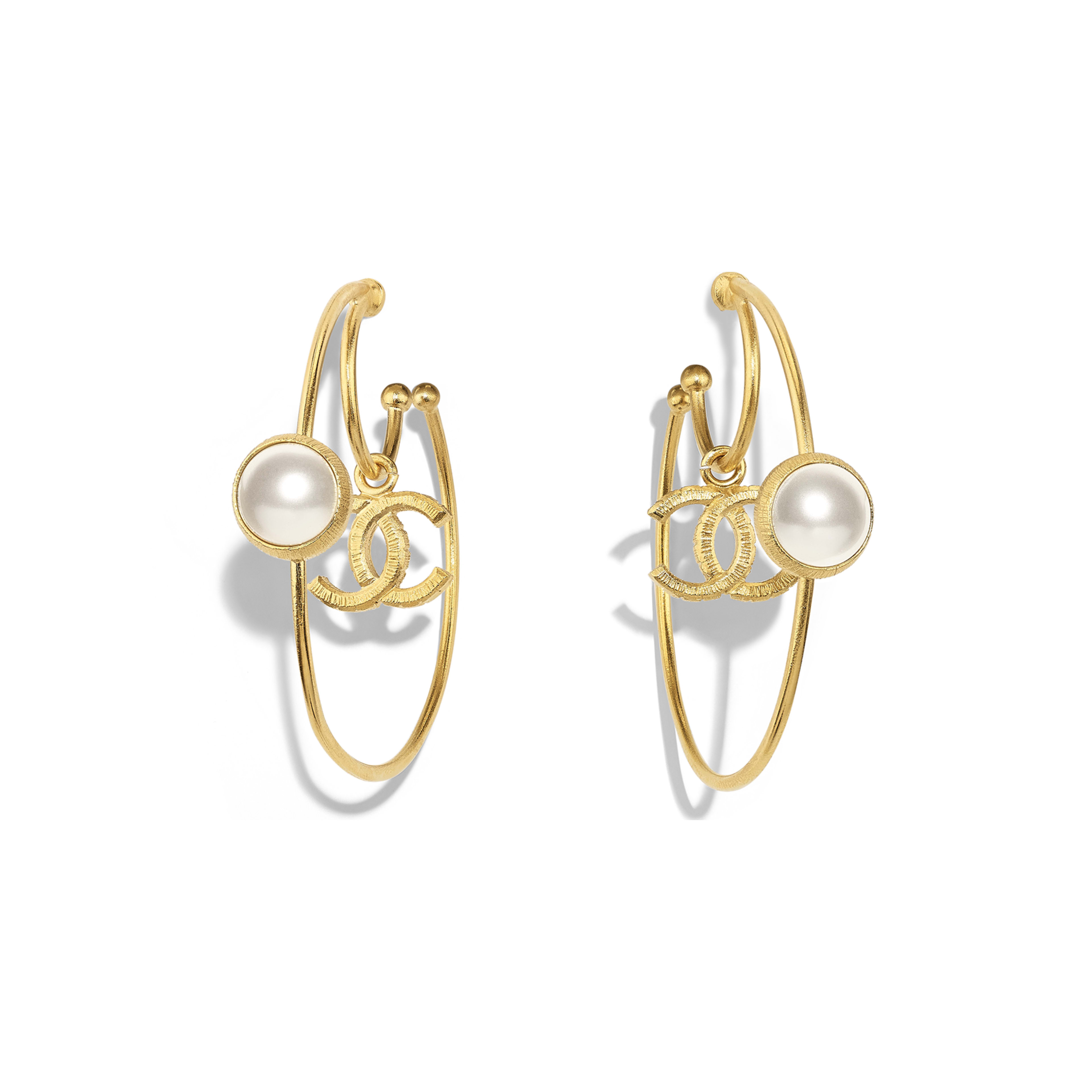 Earrings - Gold & Pearly White - Metal & Glass Pearls - Default view - see full sized version