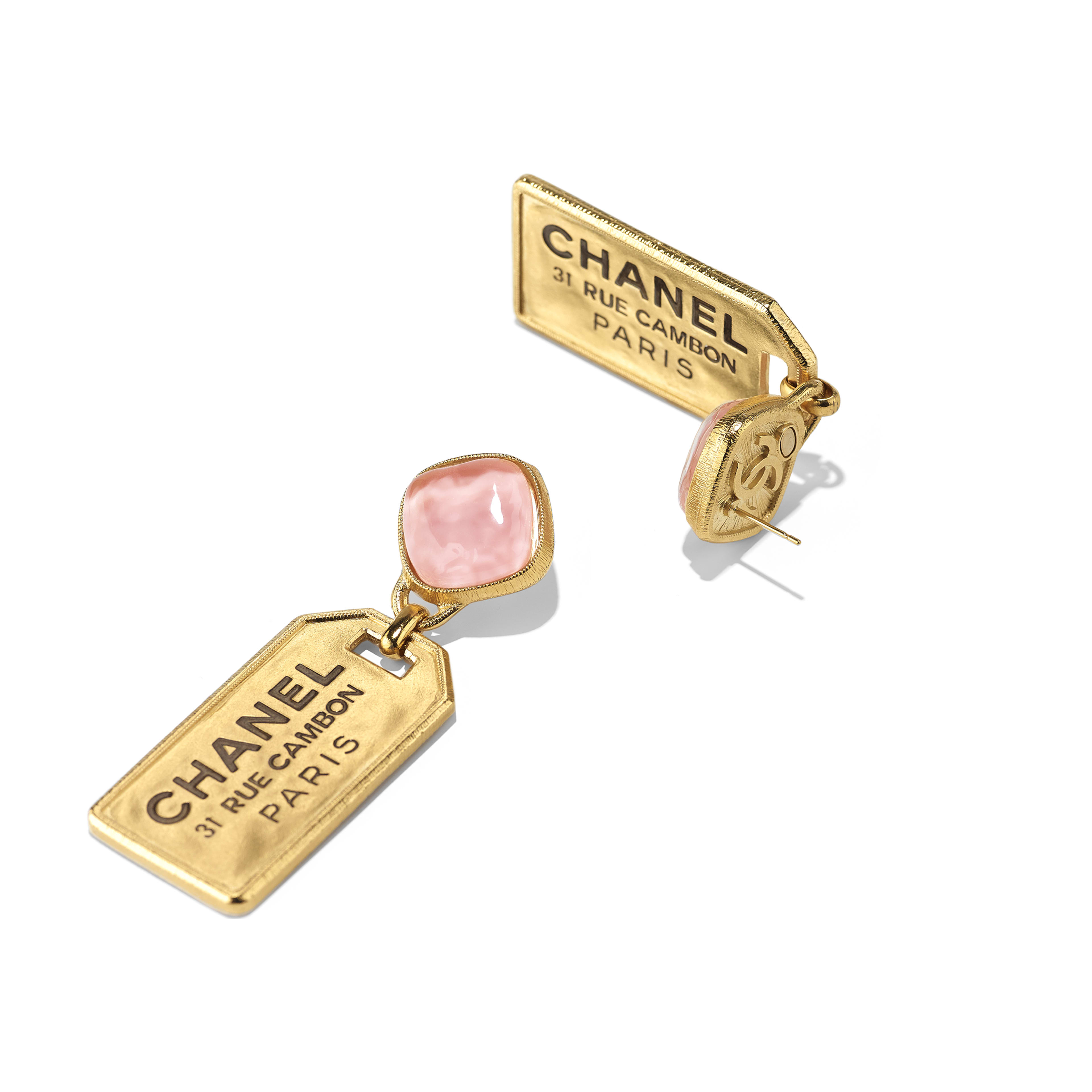 Earrings - Gold & Pink - Metal & Glass - Alternative view - see full sized version