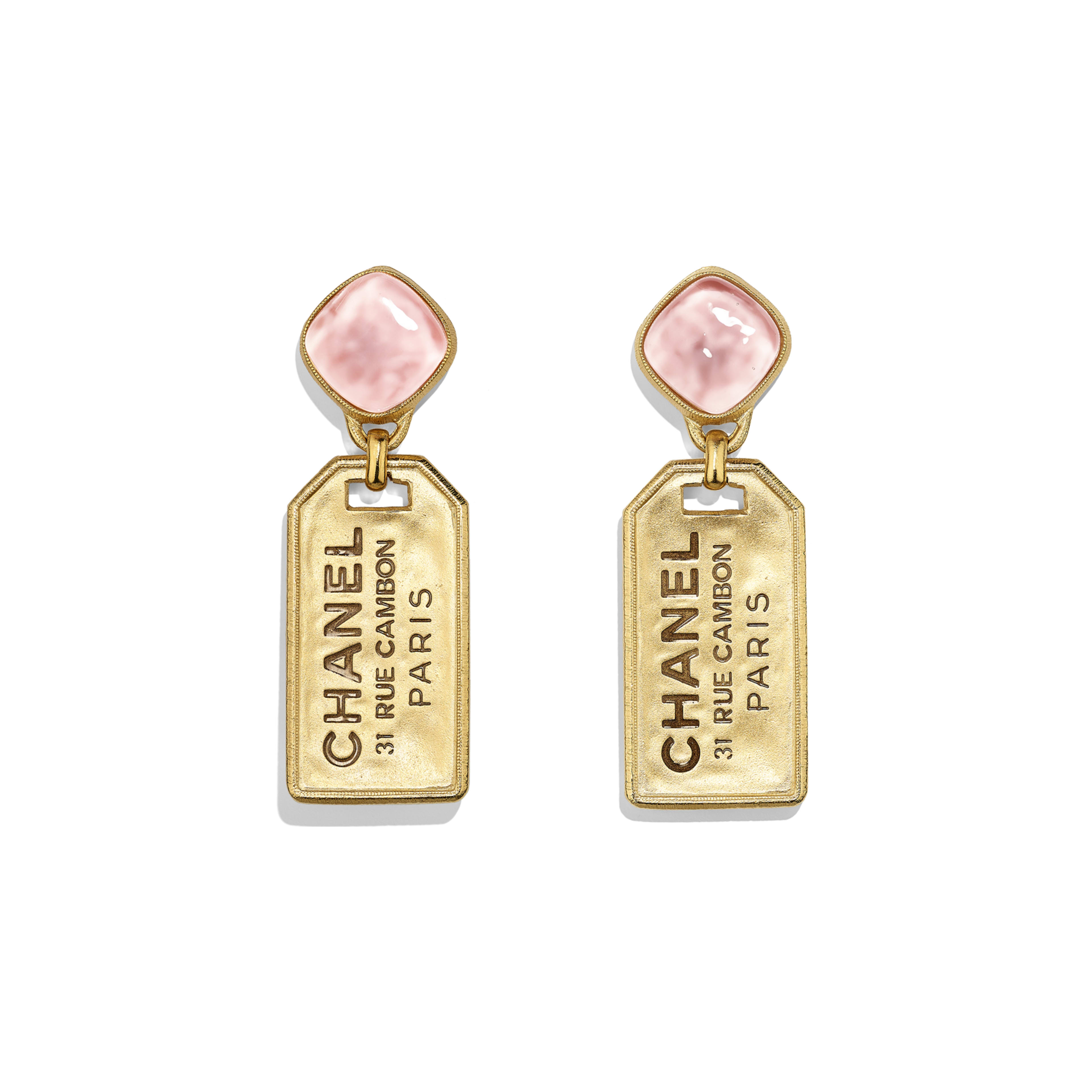 Earrings - Gold & Pink - Metal & Glass - Default view - see full sized version