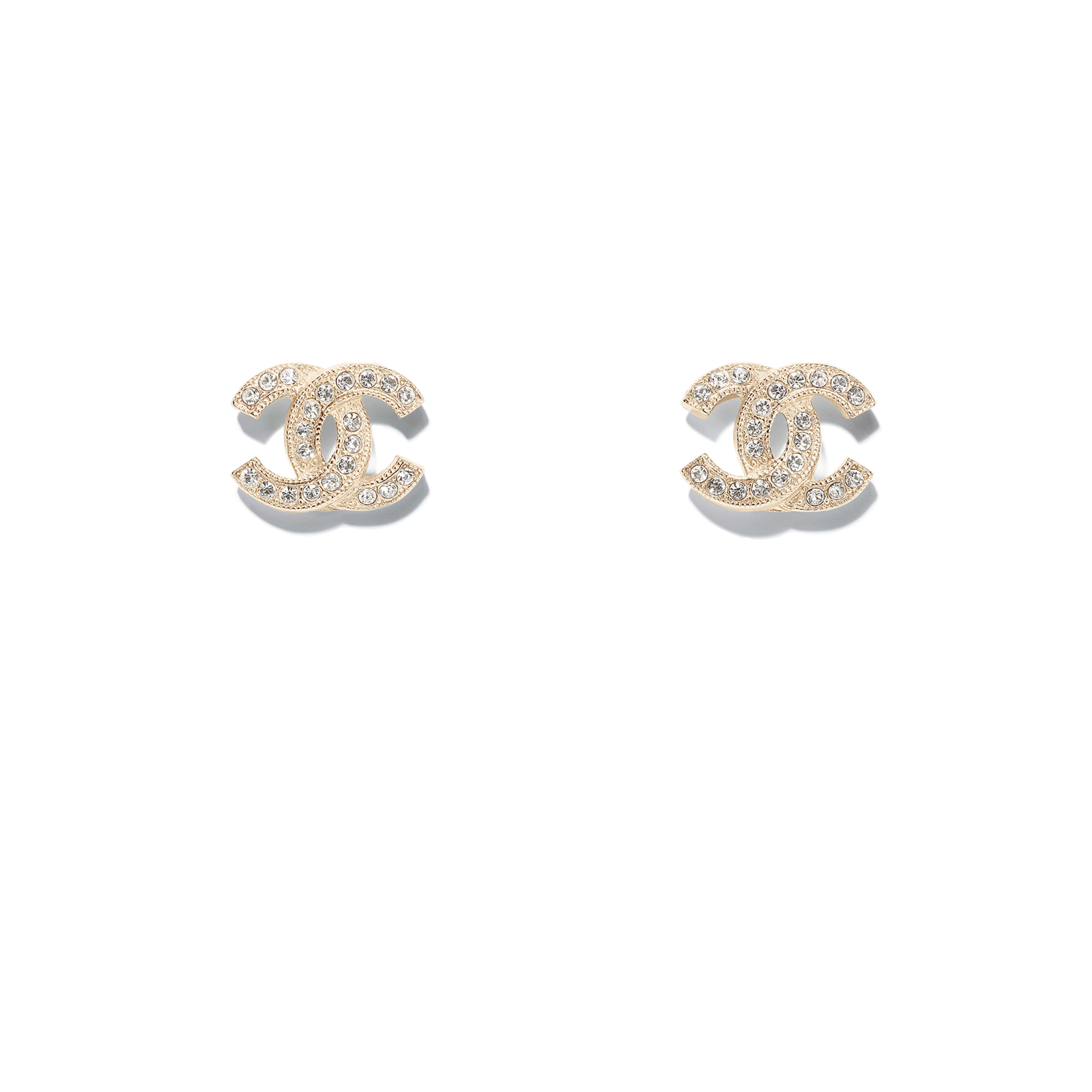 Earrings - Gold & Transparent - Metal & Strass - Default view - see full sized version