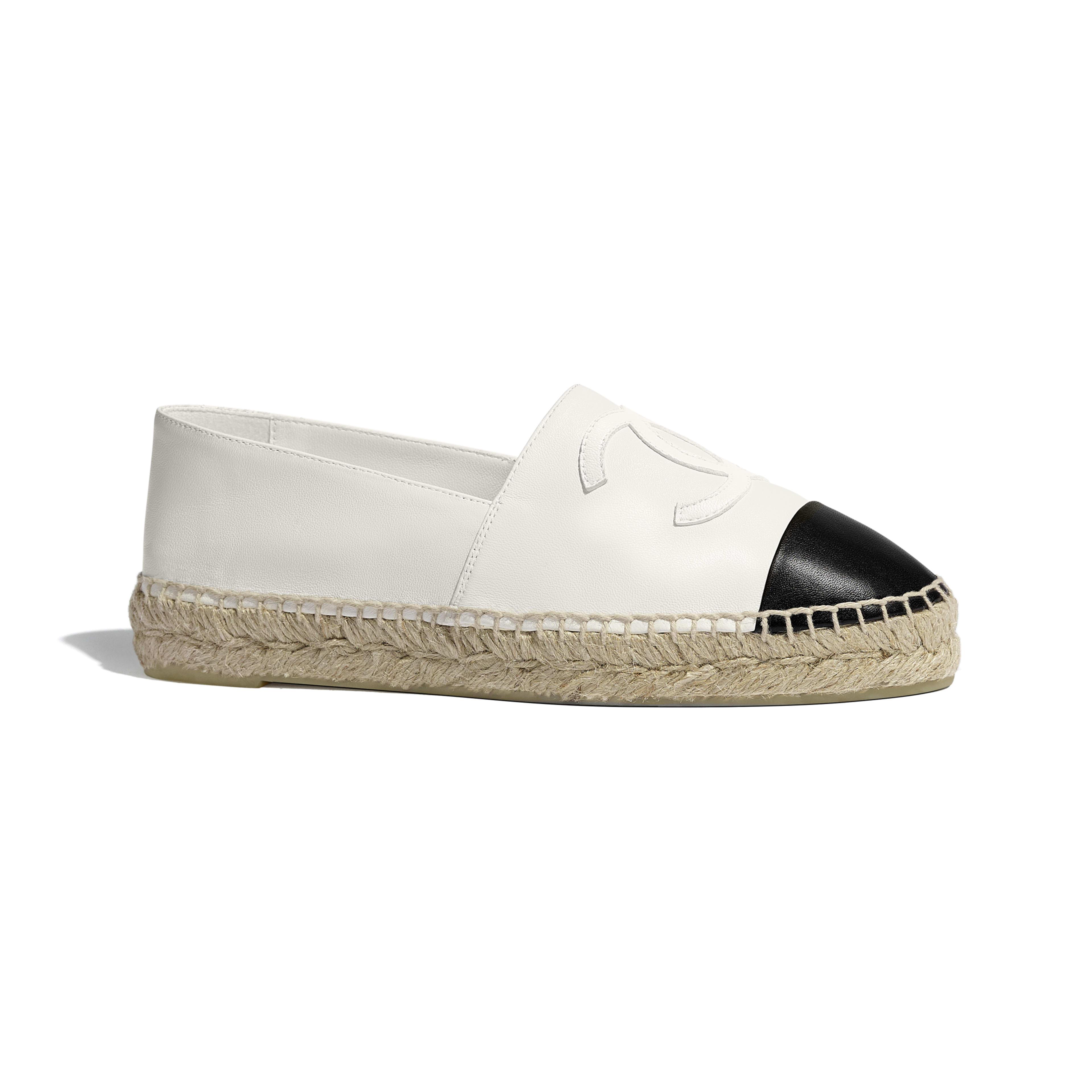 平底草織鞋 - 白及黑色 - 小羊皮 - 預設視圖 - 查看全尺寸版本