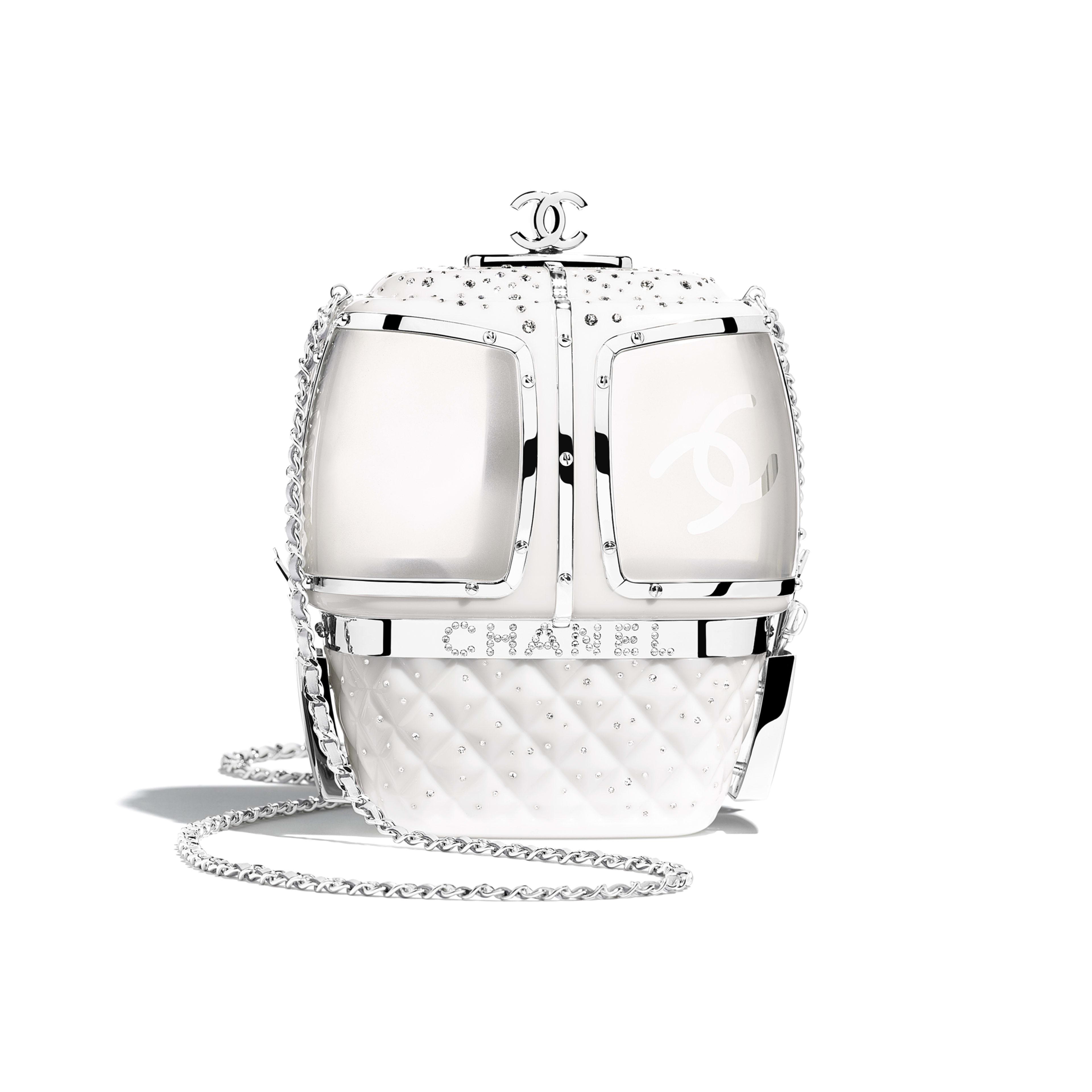 กระเป๋าสำหรับงานกลางคืน - สีขาว - เรซิน, คริสตัล และโลหะสีเงิน - มุมมองทางอื่น - ดูเวอร์ชันขนาดเต็ม