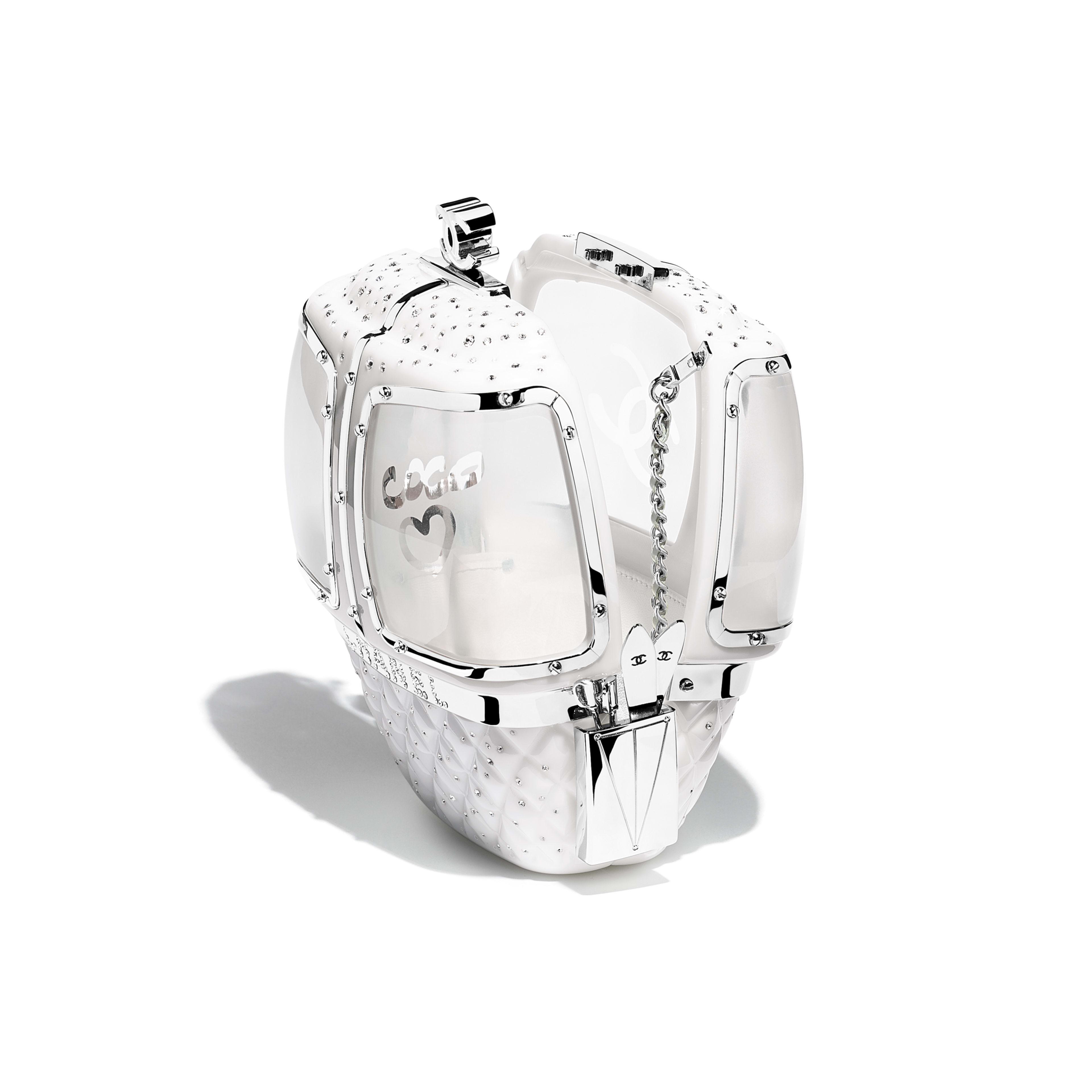 กระเป๋าสำหรับงานกลางคืน - สีขาว - เรซิน, คริสตัล และโลหะสีเงิน - มุมมองอื่น - ดูเวอร์ชันขนาดเต็ม