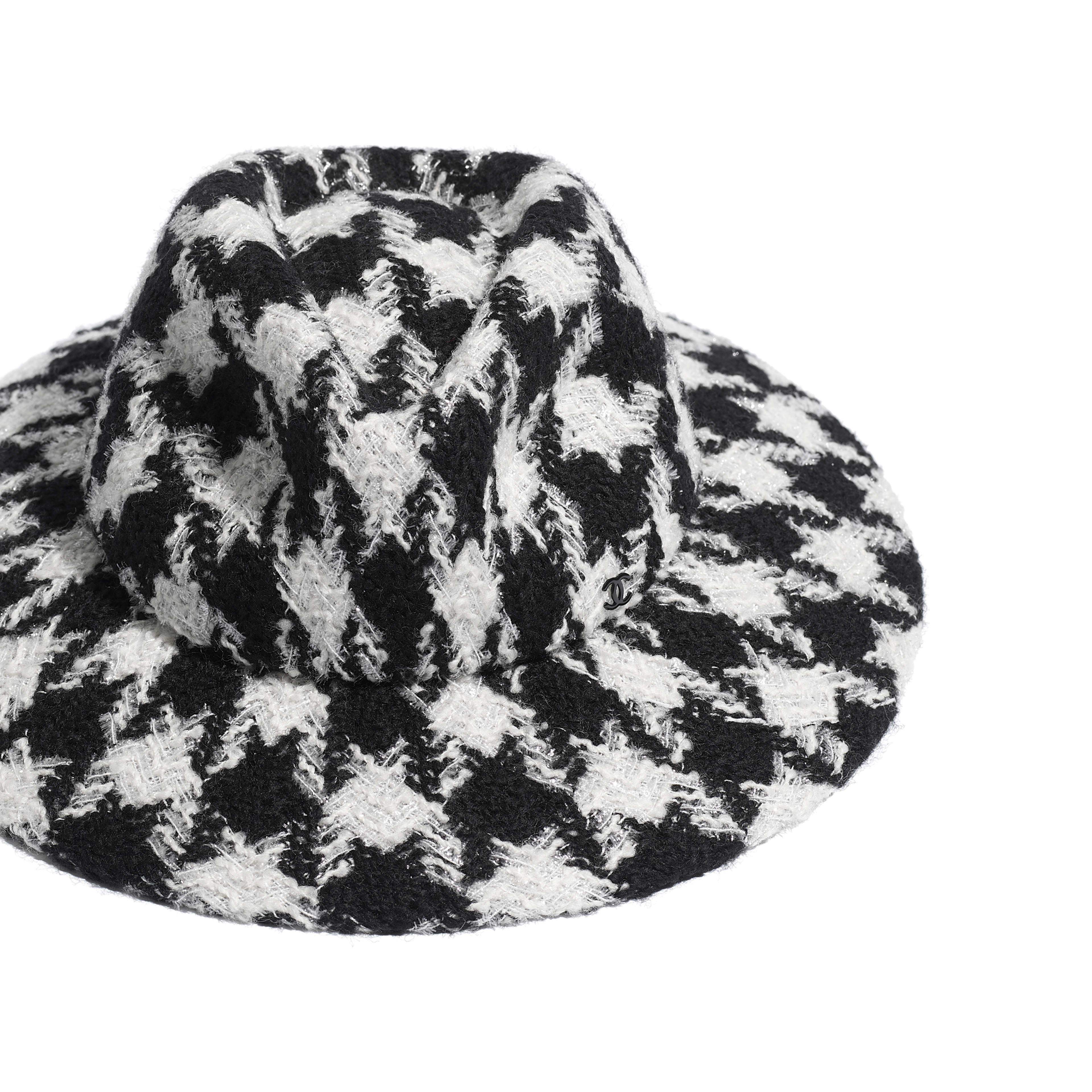 Fedora Hat - Black & Ecru - Felt & Wool Tweed - Alternative view - see full sized version