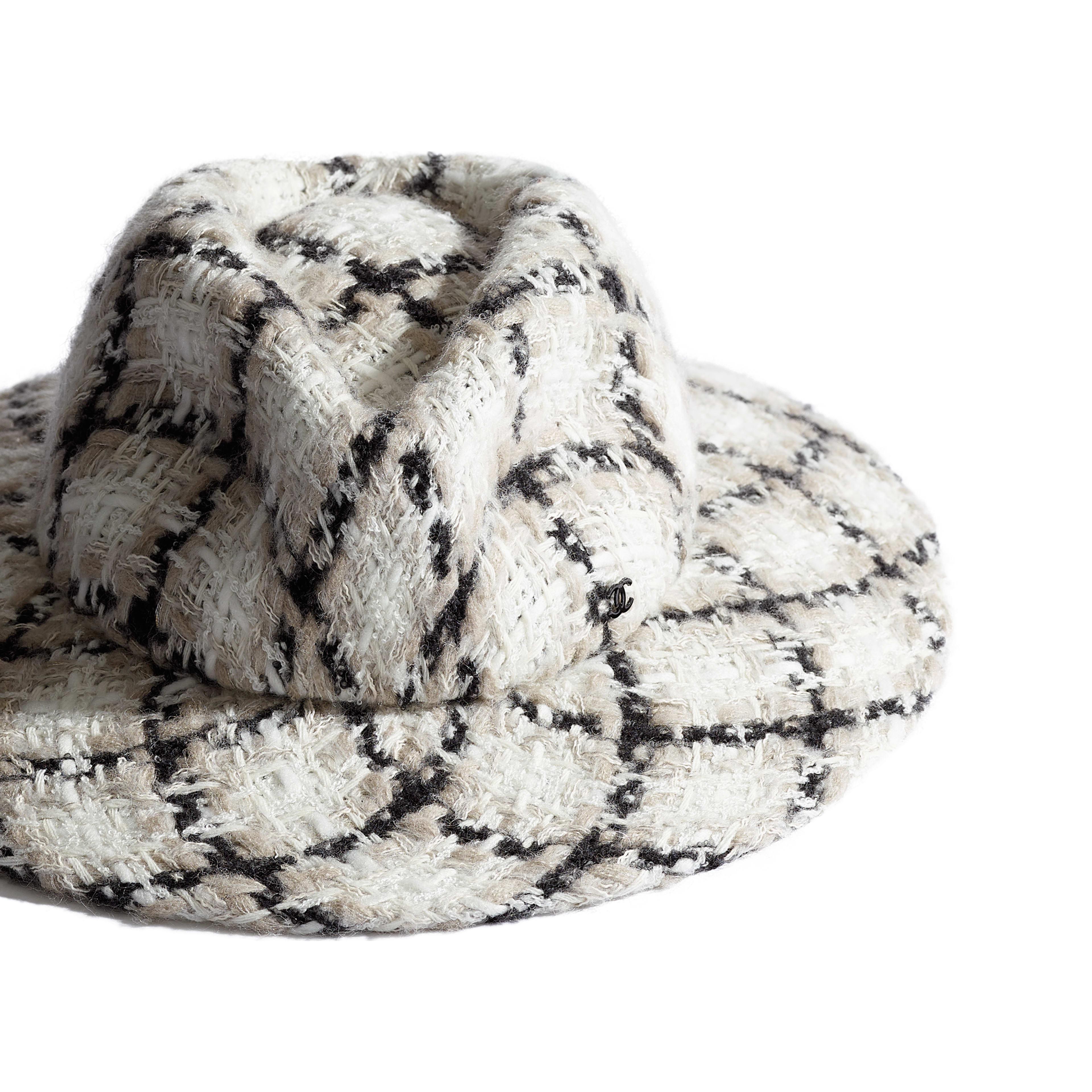 Fedora Hat - Ecru, Black & Grey - Felt & Wool Tweed - Alternative view - see full sized version