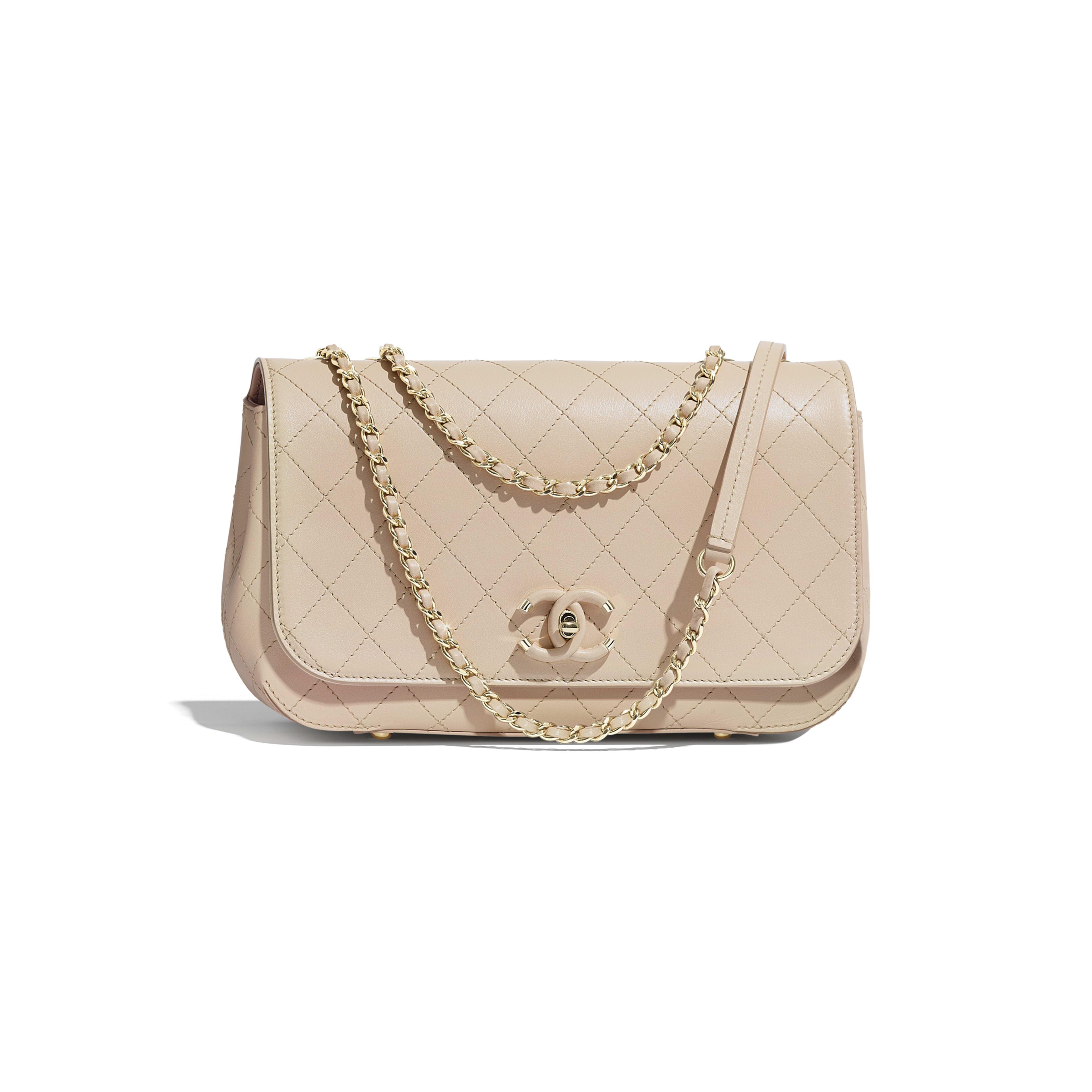 233a2fe6131f Flap Bag - Beige - Calfskin   Gold-Tone Metal - Default view - see ...