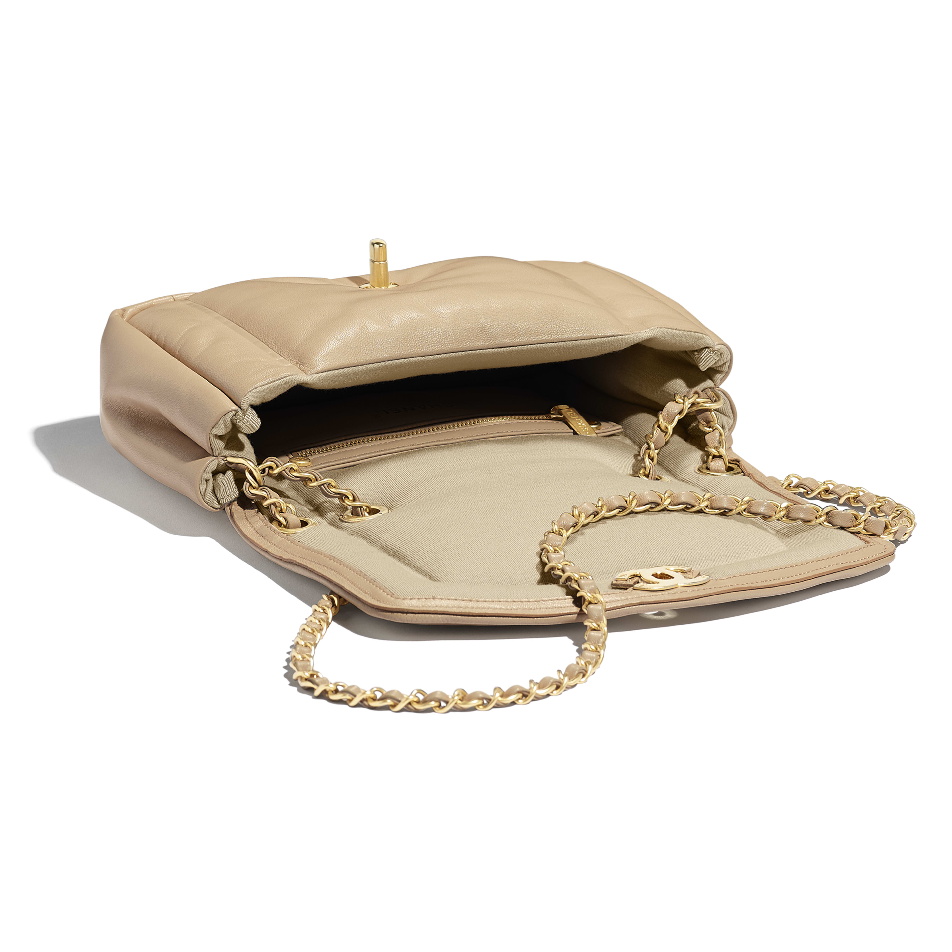 Flap Bag - Beige - Lambskin & Gold-Tone Metal - Other view - see full sized version