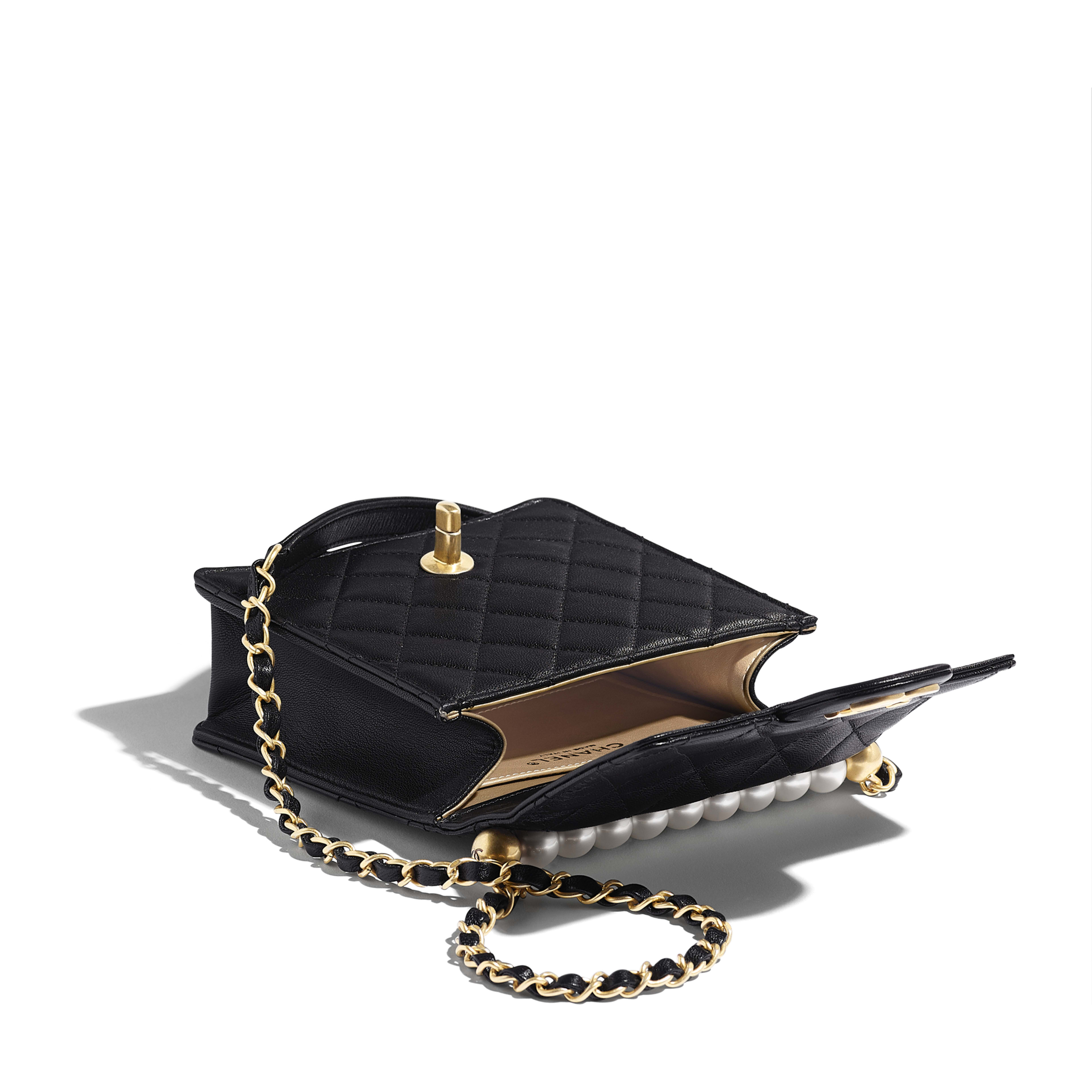 Flap Bag - Black - Goatskin, Imitation Pearls & Gold-Tone Metal - Other view - see full sized version